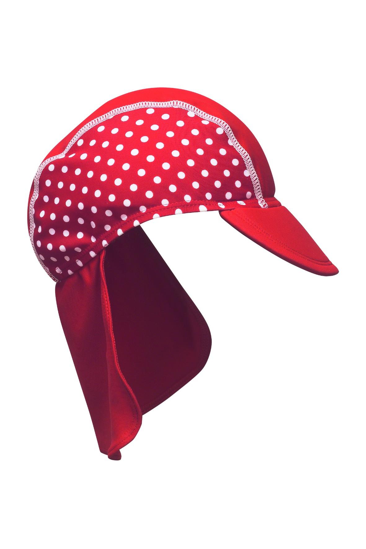 Czapka ochronna z filtrem UV czerwona w kropki