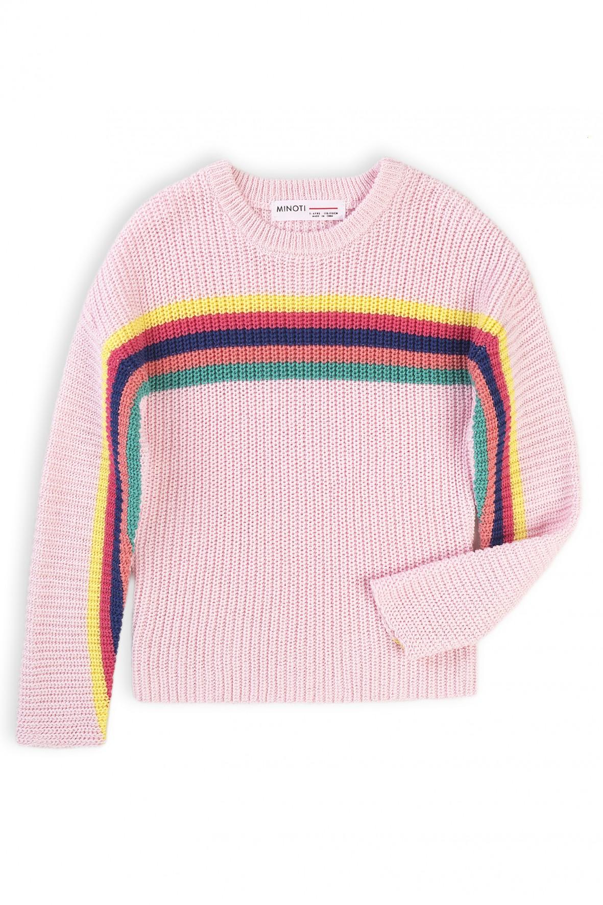 Różowy sweter dziewczęcy w kolorowe paski