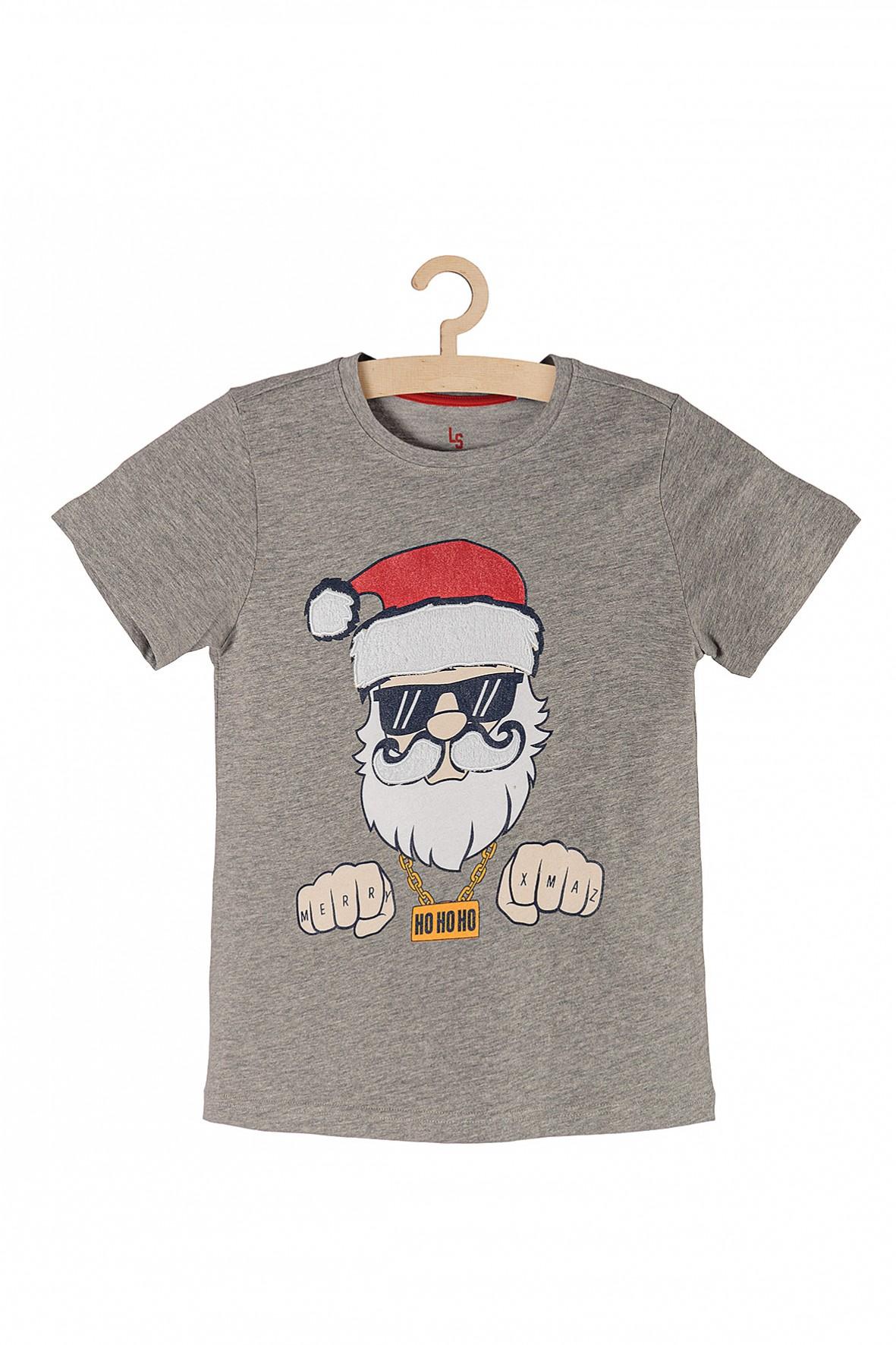 T-shirt dzianinowy z Mikołajem- szary
