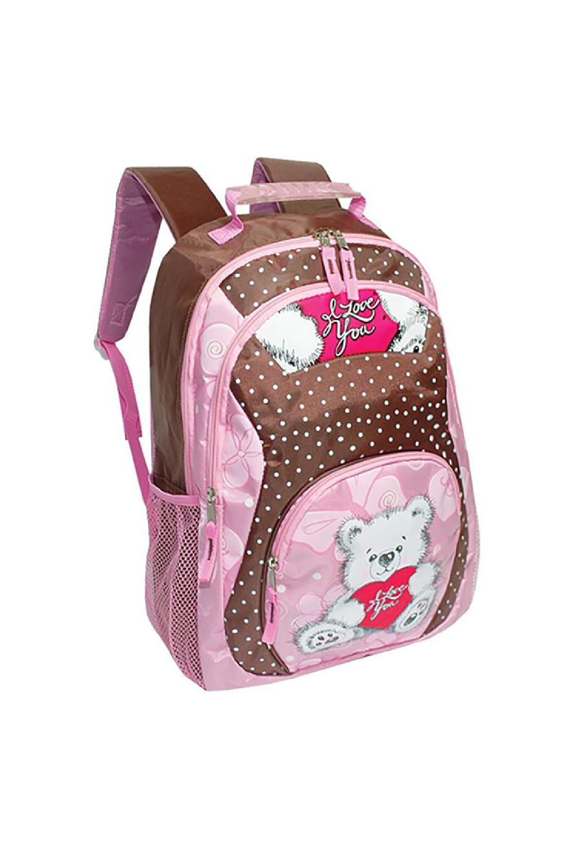 Plecak dziewczęcy z misiem- usztywnione plecy