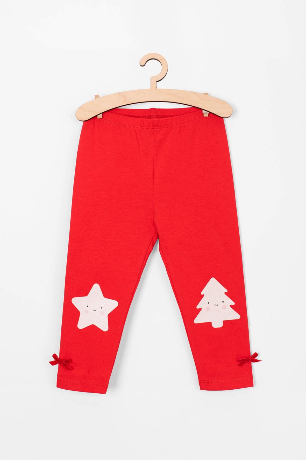 Czerwone leginsy w świąteczne wzory