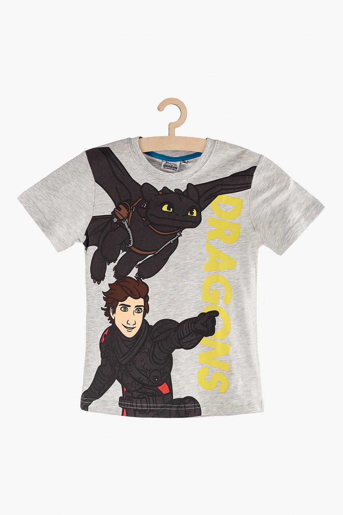 """T-Shirt chłopięcy szary """"Jak wytresować smoka?"""""""