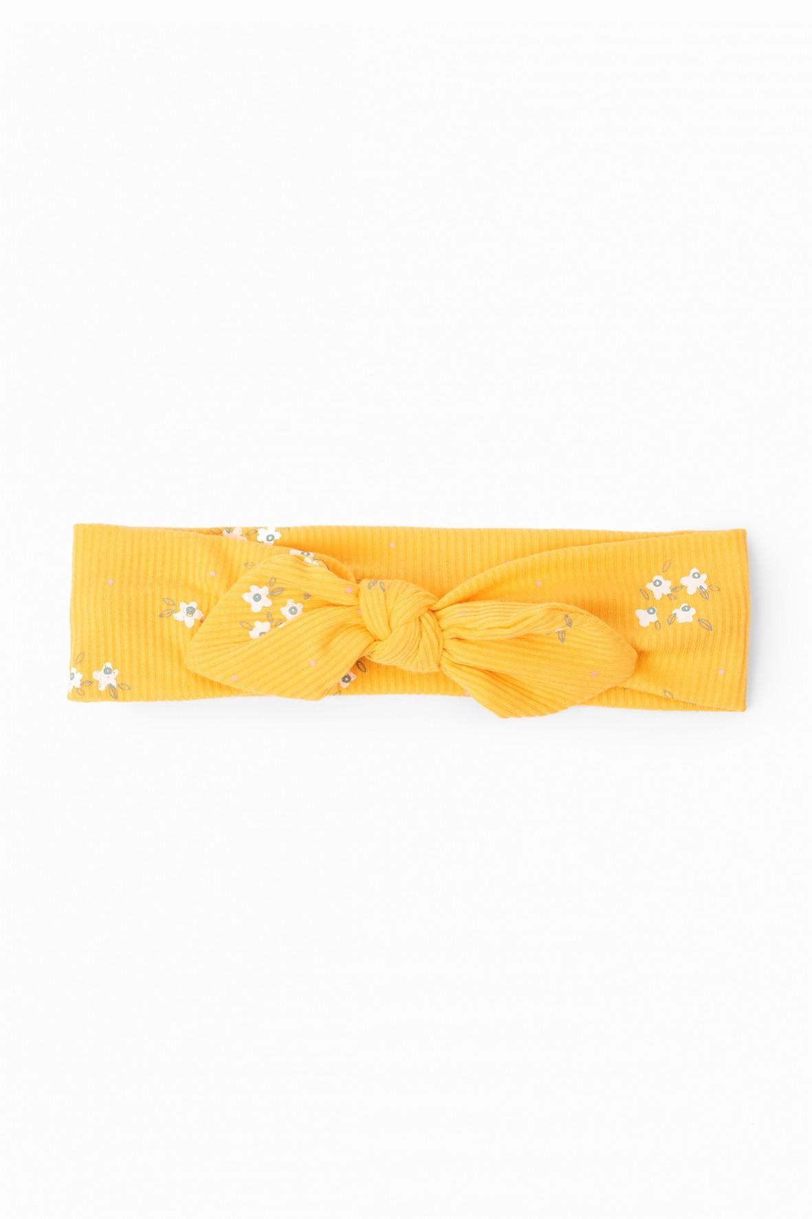 Opaska dziewczęca na głowę One Size w kwiatki - żółta