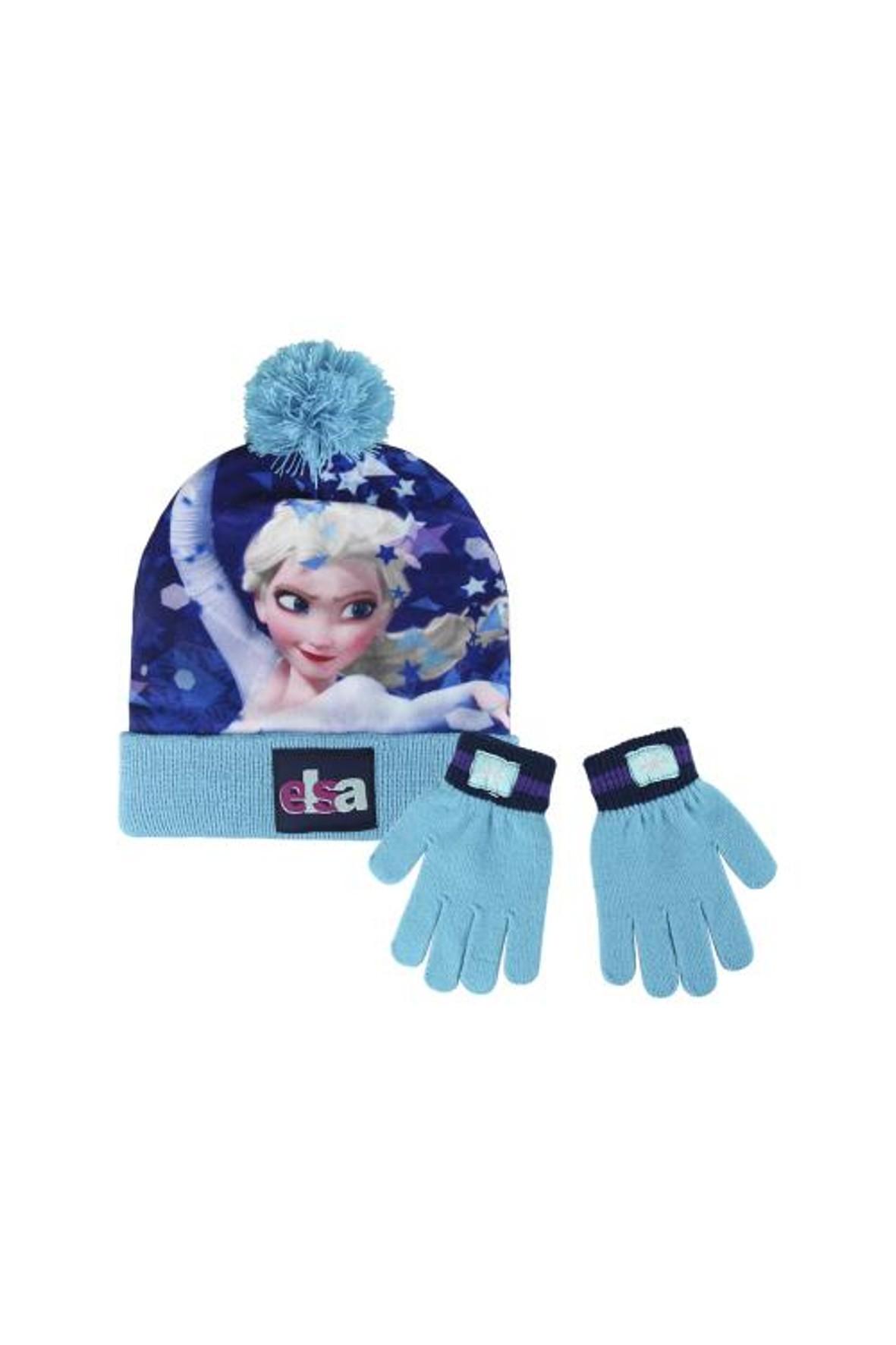 Komplet czapka i rękawiczki Frozen Elsa
