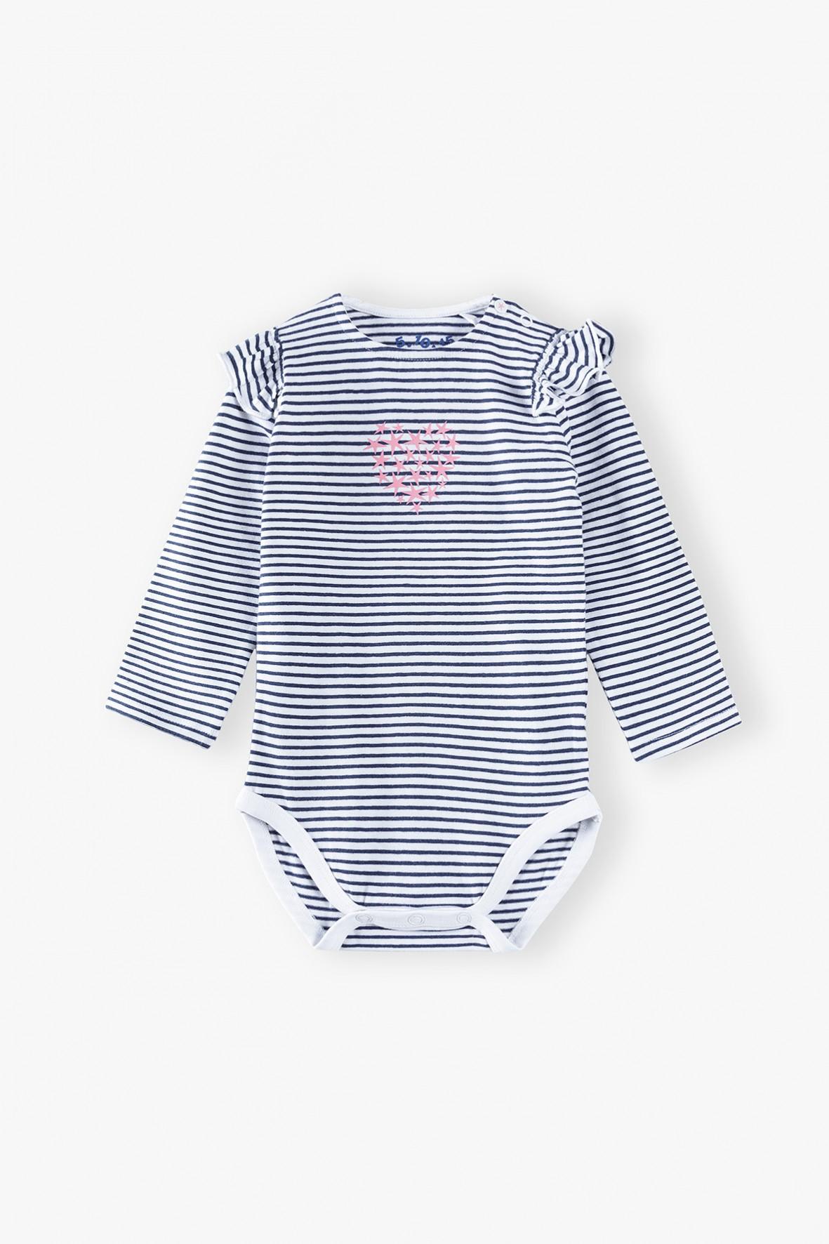 Body niemowlęce na długi rękaw w paseczki z ozdobną falbaną na ramionach