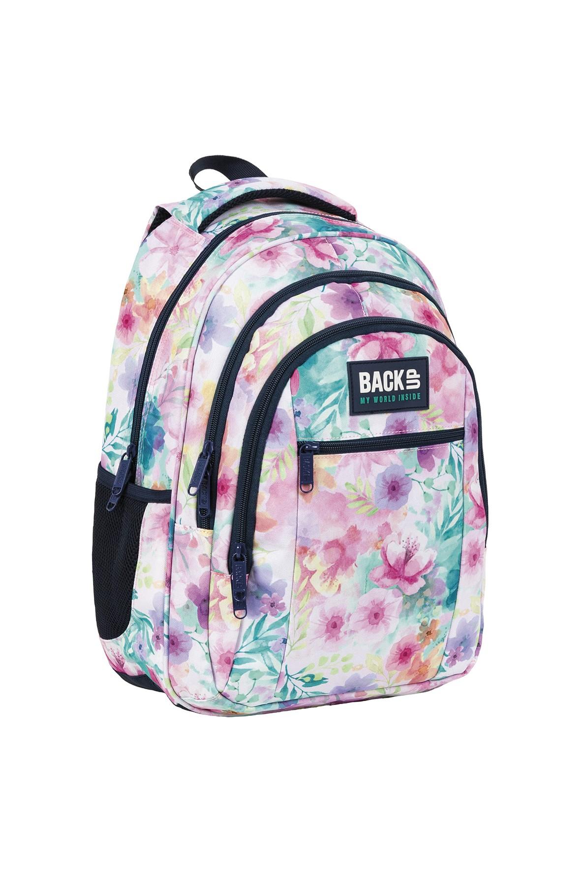 Plecak BackUp dziewczęcy w kwiatki