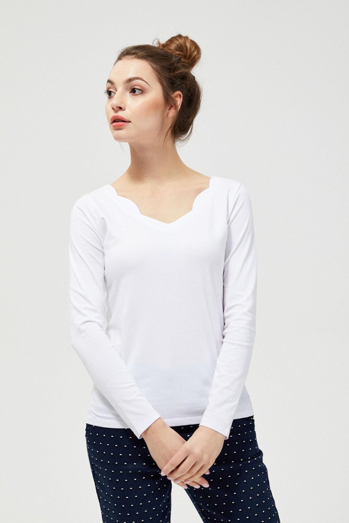 Bawełniana bluzka typu basic- biała
