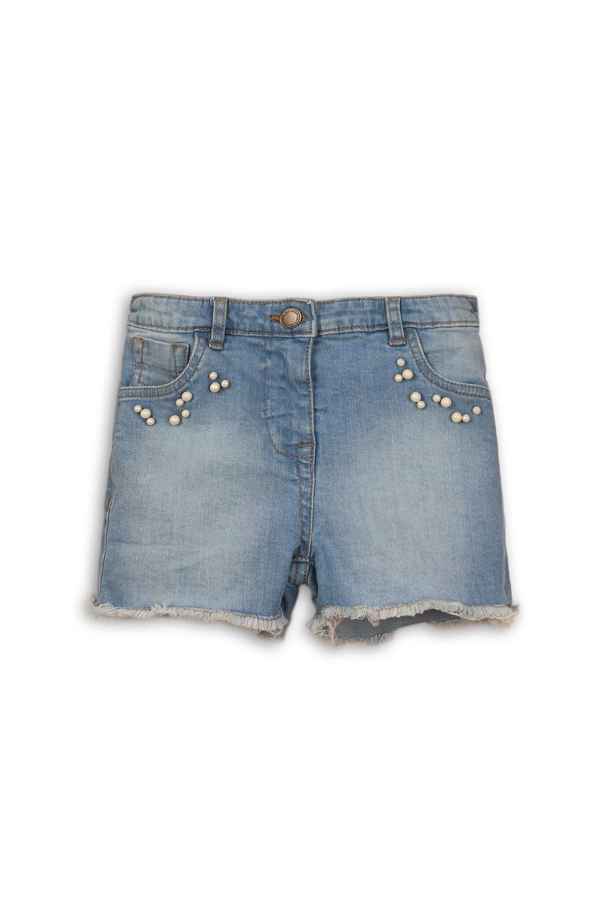 Jeansowe szorty dziewczęce z perełkami