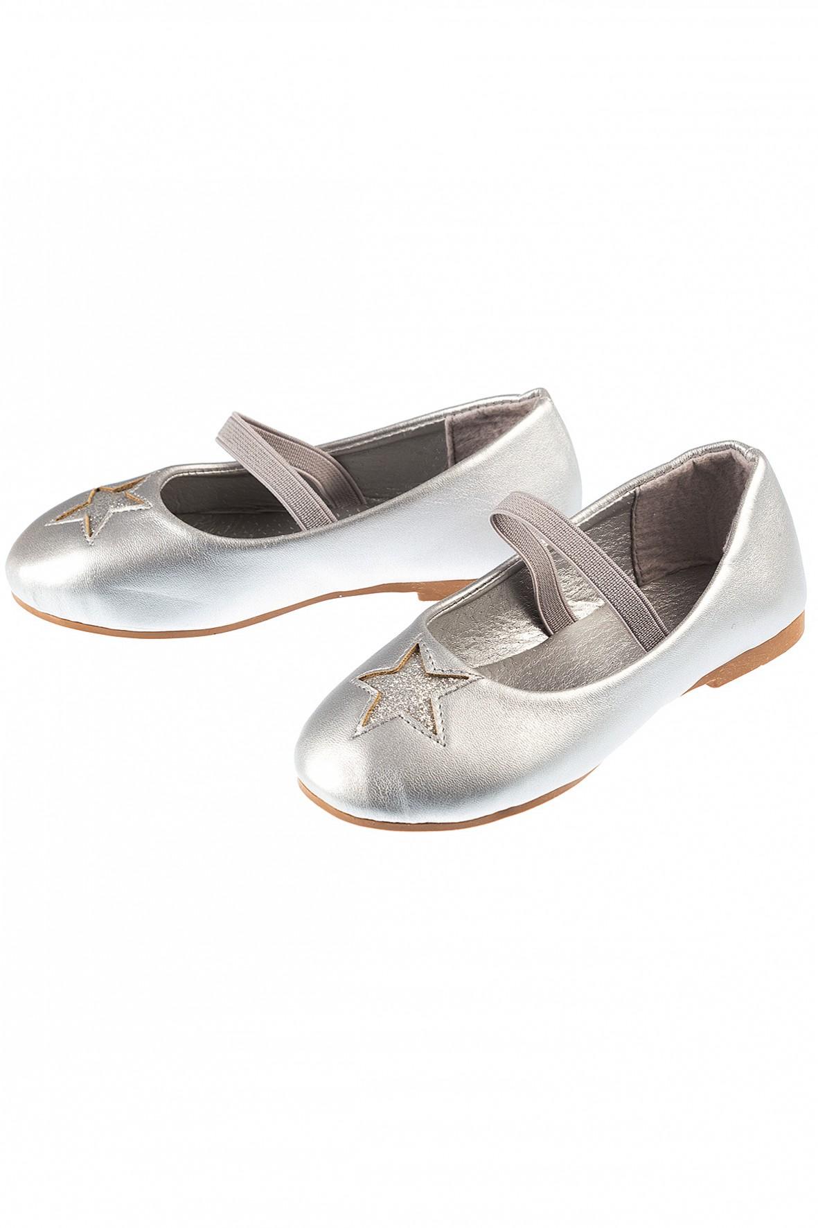 Baleriny dziewczęce srebrne z brokatową gwiazdka