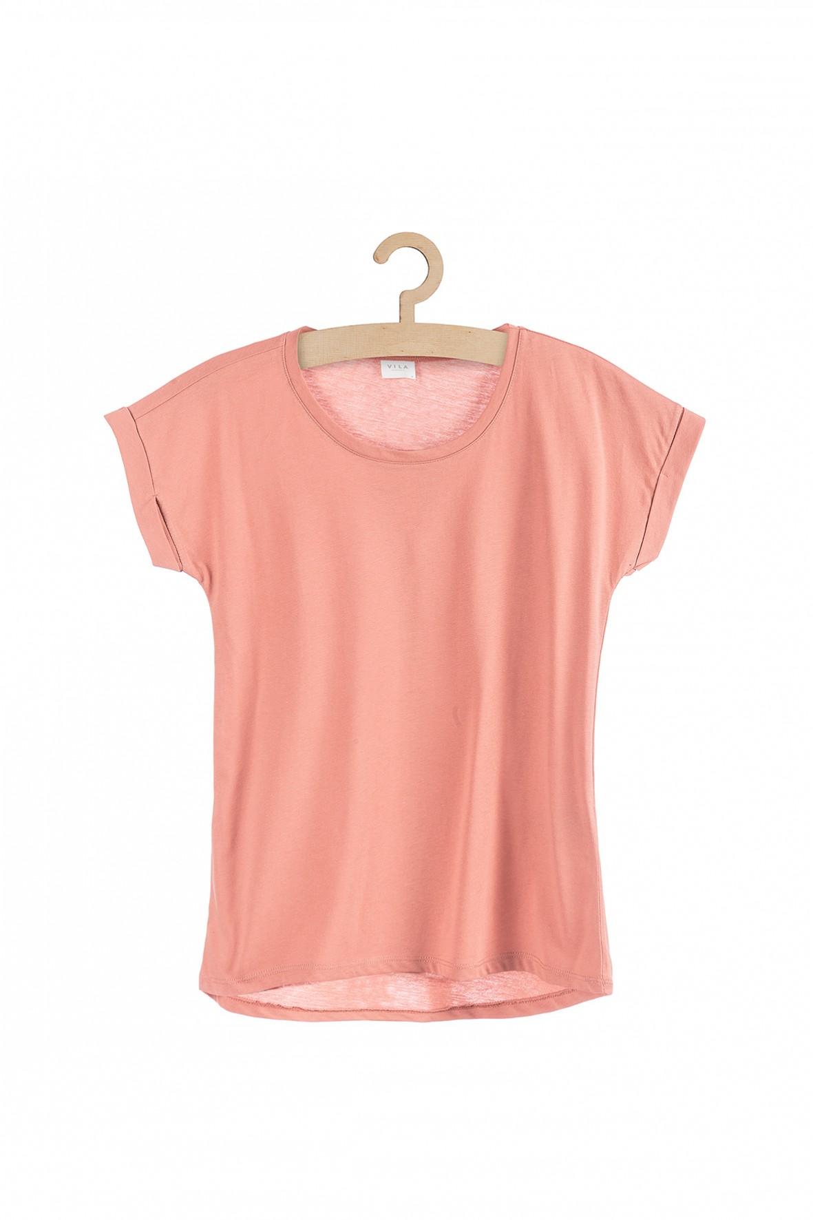 Damski t-shirt - pudrowy róż