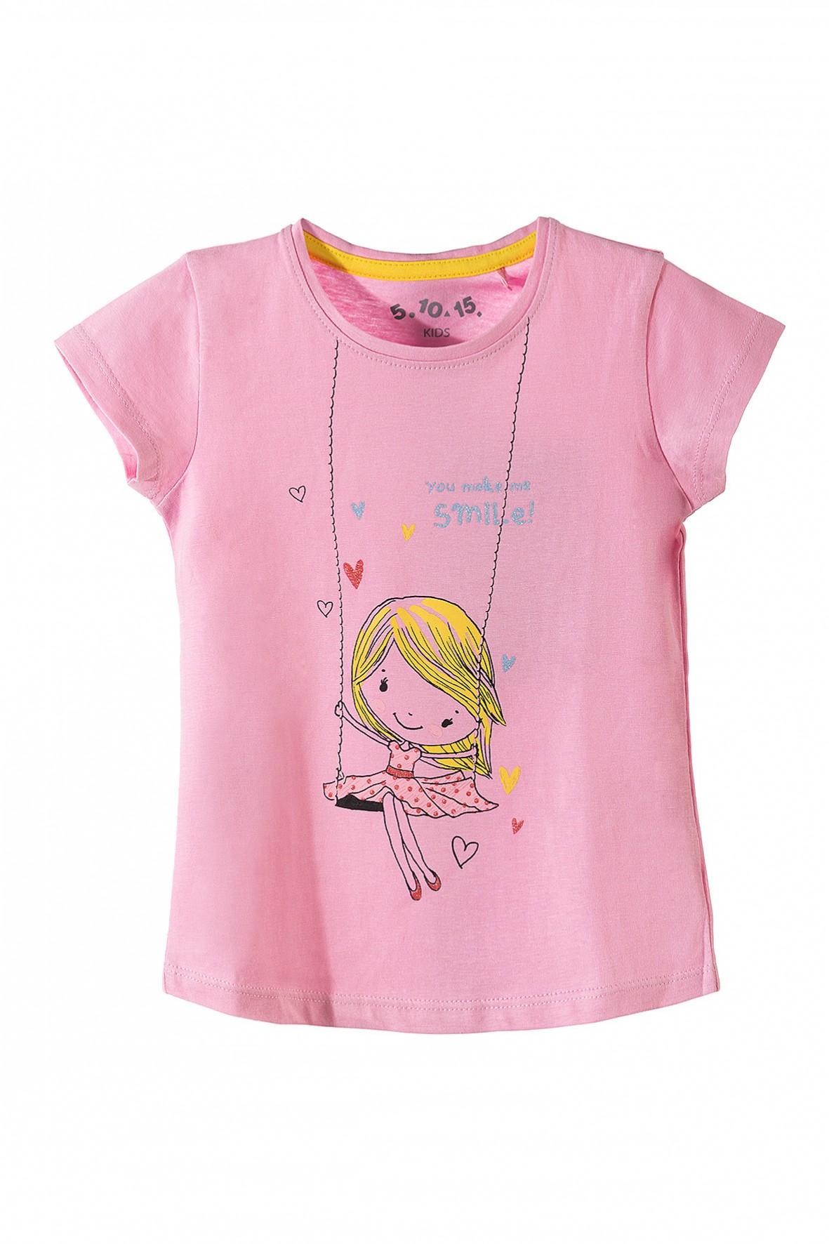 Koszulka dziewczęca różowa-smile