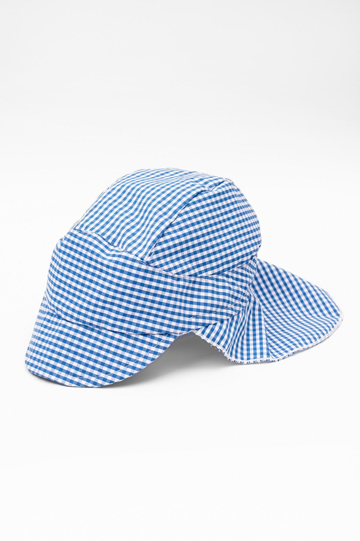 Niemowlęca czapka z daszkiem i okryciem na kark- niebieska kratka