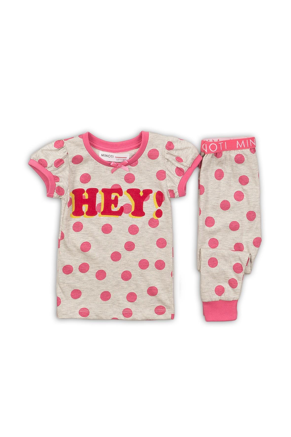 Pidżama dziewczęca szara w różowe kropki