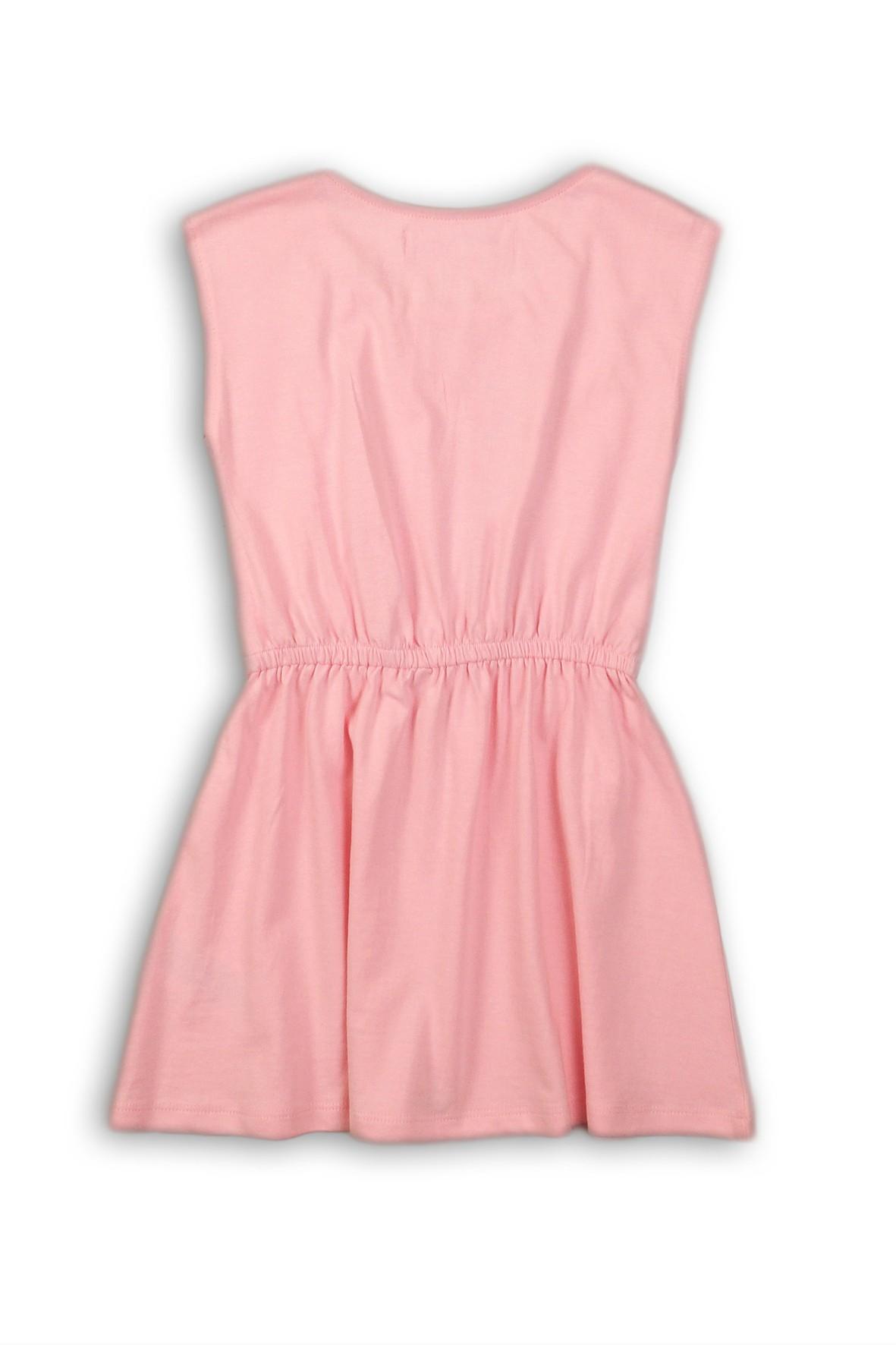 02a3269de4 Różowa sukienka dla niemowlaka wykonana z bawełnianej dzianiny.