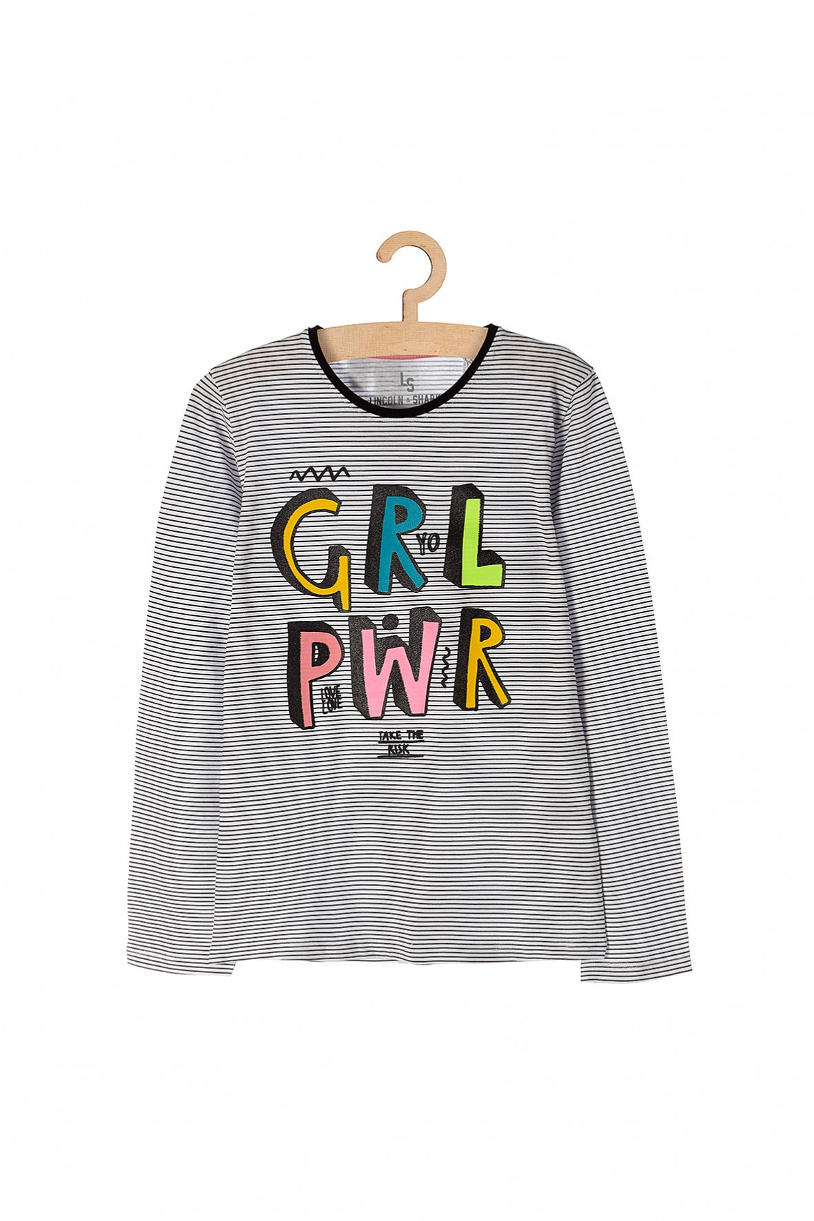 Bluzka dziewczęca w paski-kolorowy napis z przodu