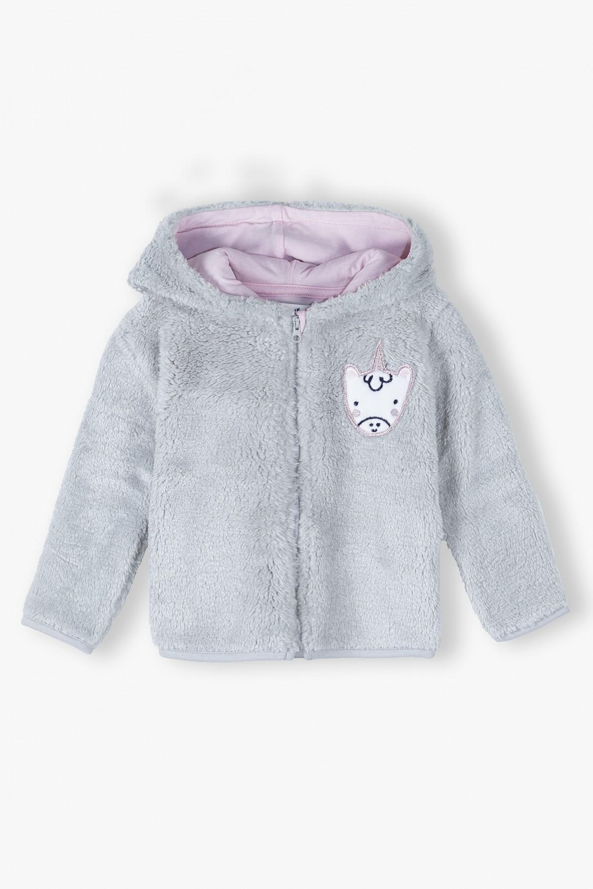 Bluza polar niemowlęca z jednorożcem - szara