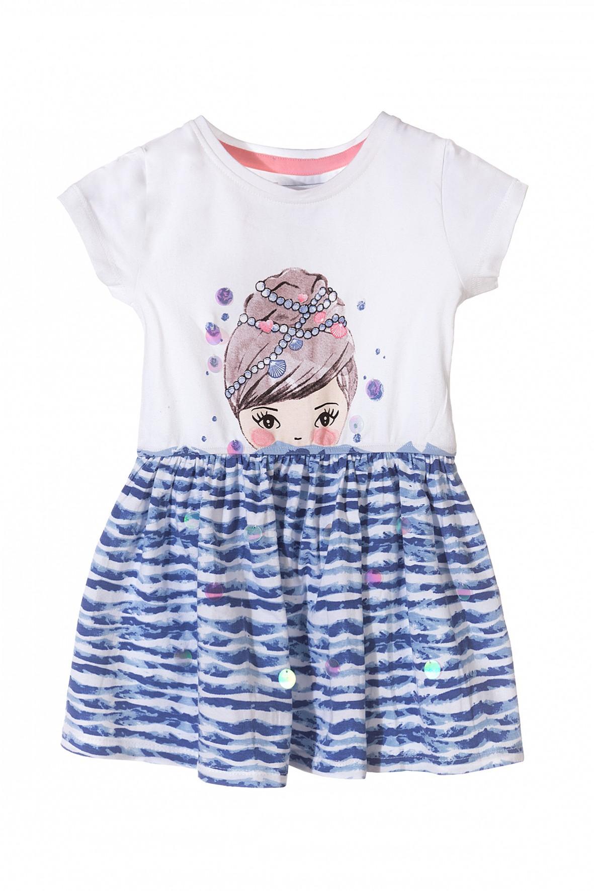 Sukienka dziewczęca dzianinowa na lato biało-niebieska
