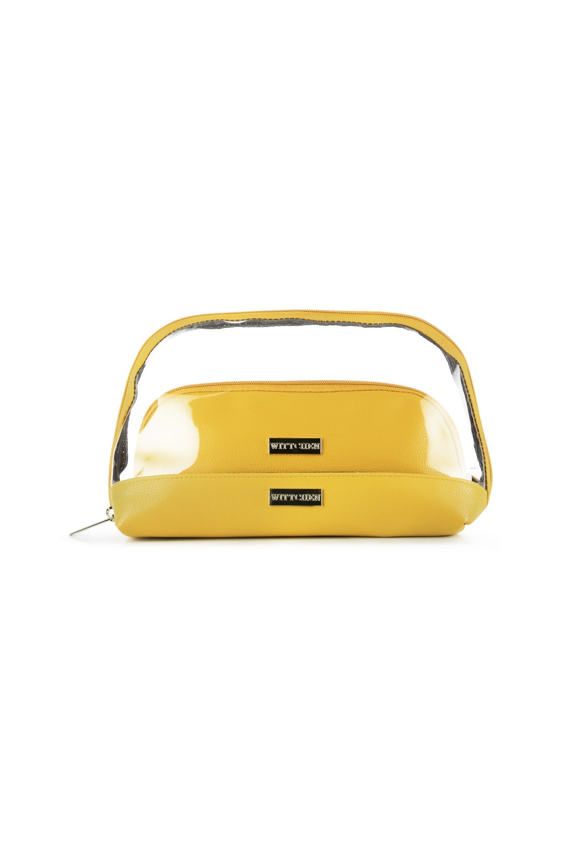 Kosmetyczka damska transparentna 2w1 Wittchen- żółta