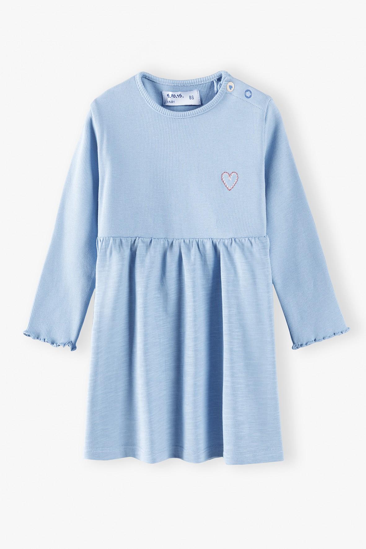 Sukienka niemowlęca z długim rekawem-niebieska