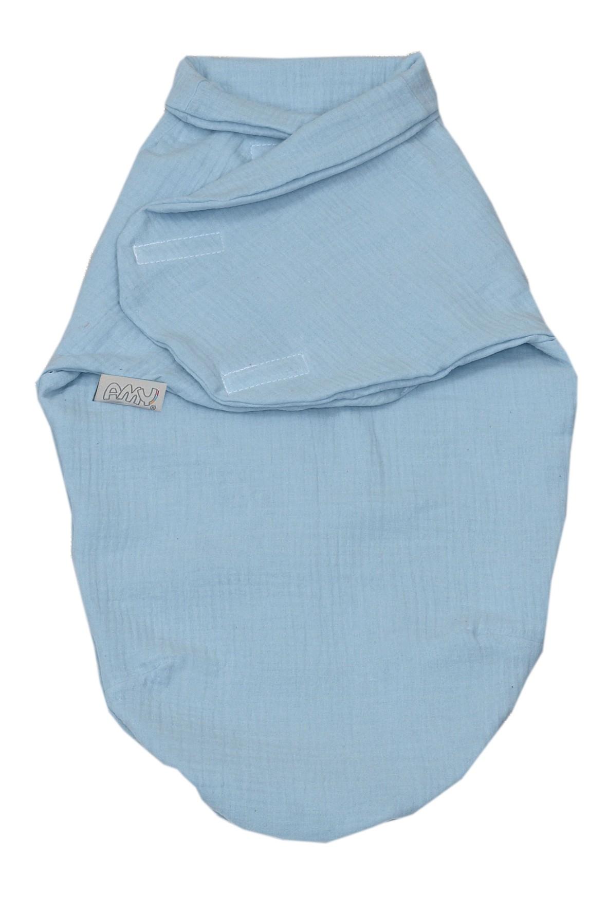 Otulacz niemowlęcy muślinowy 72x60cm niebieski