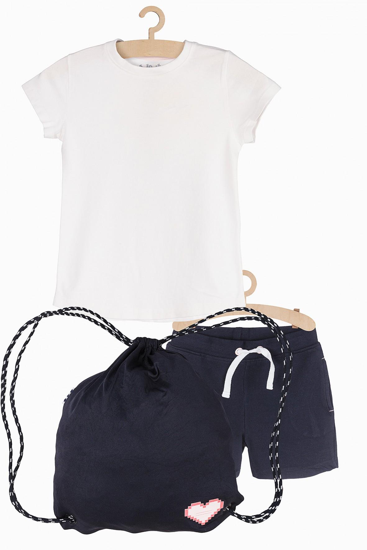 Komplet ubrań na gimnastykę- koszulka spodenki i worek na kapcie