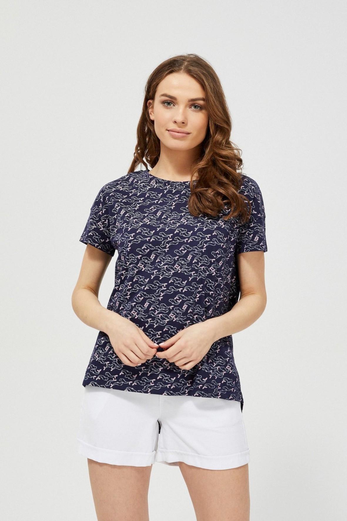 Bawełniany granatowy T-shirt damski na krótki rękaw we wzorki