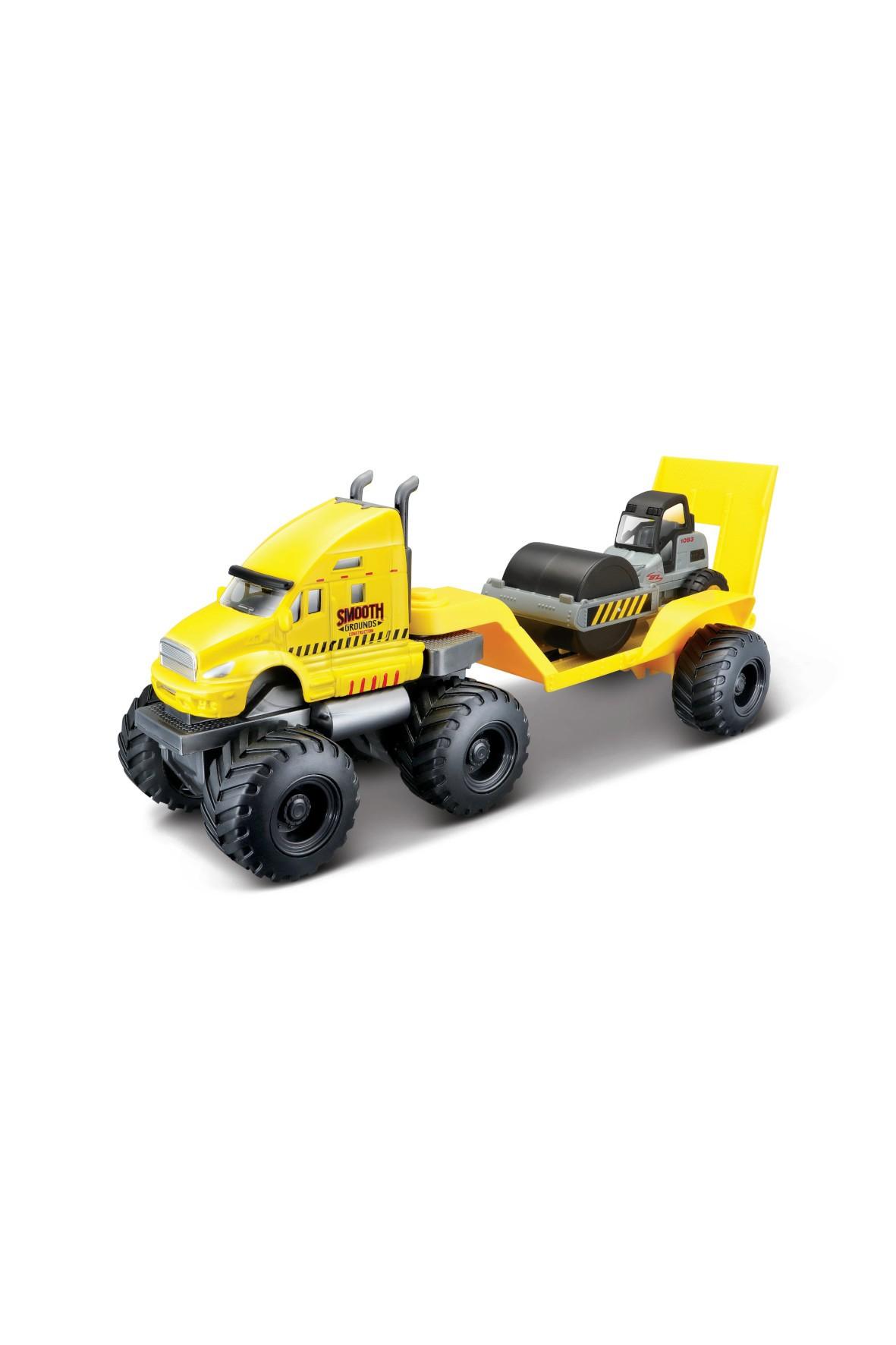 Pojazd budowlany z lawetą - żółty