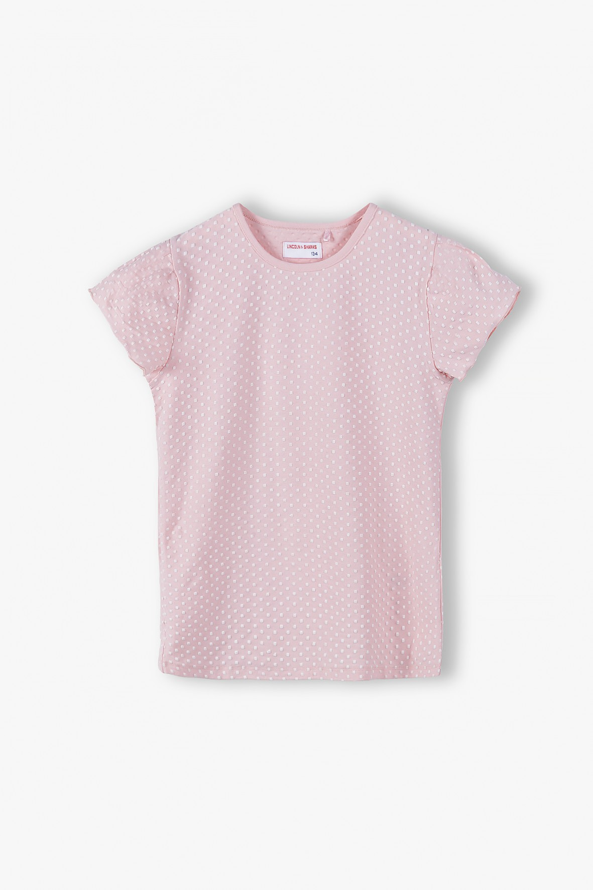 T- shirt dziewczęcy z falbankami - różowy