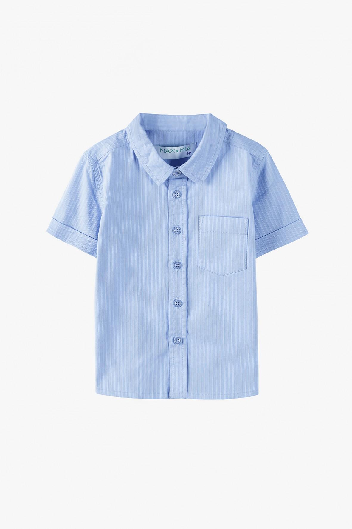 Elegancka koszula chłopięca z krótkim rękawem - niebieska
