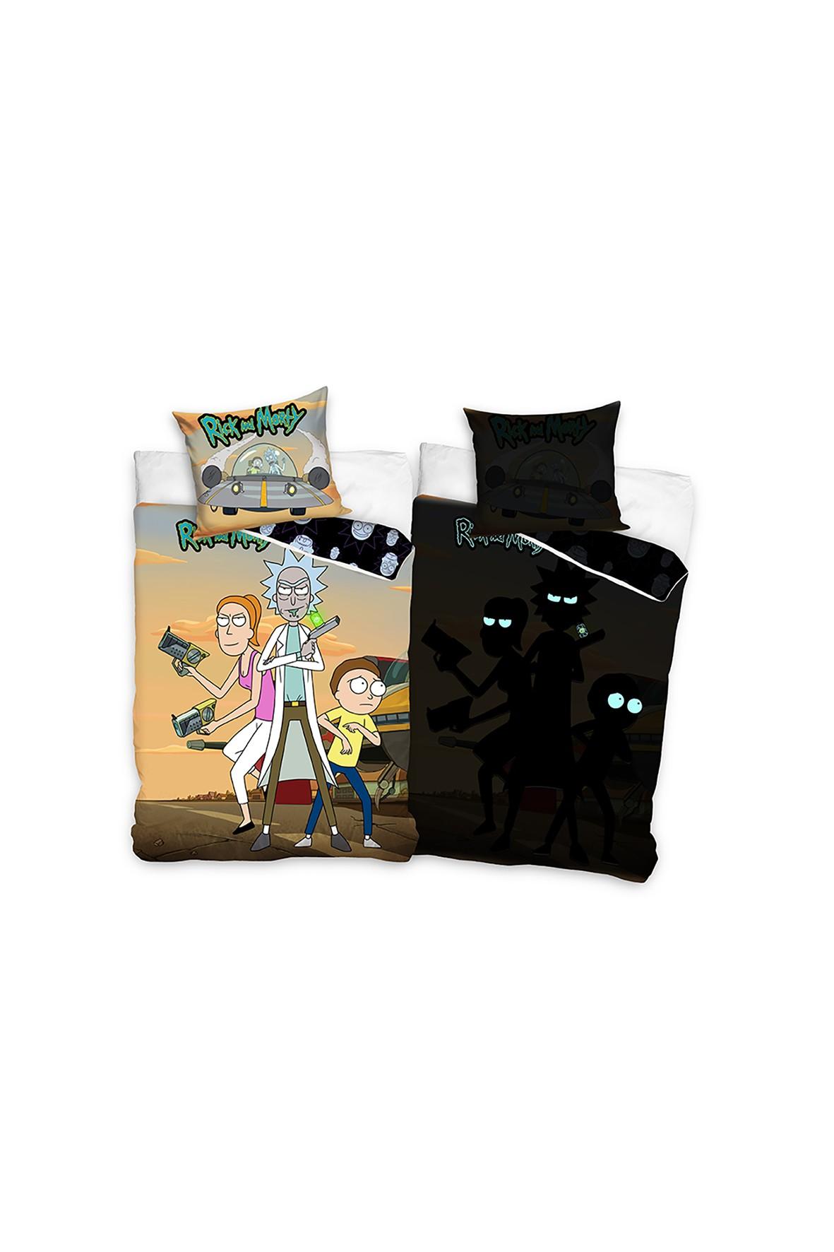 Komplet pościeli bawełnianej Rick and Morty 140x200+70x90 cm