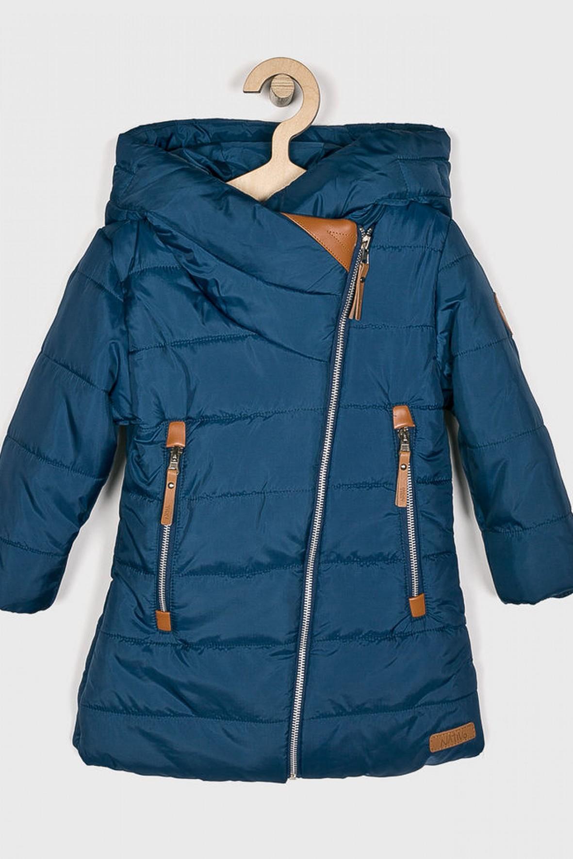 Płaszczyk zimowy dziewczęcy niebieski pikowany Ceny i