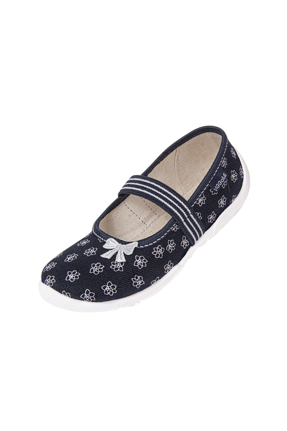 Buty dziewczęce czarne w białe kwiatki