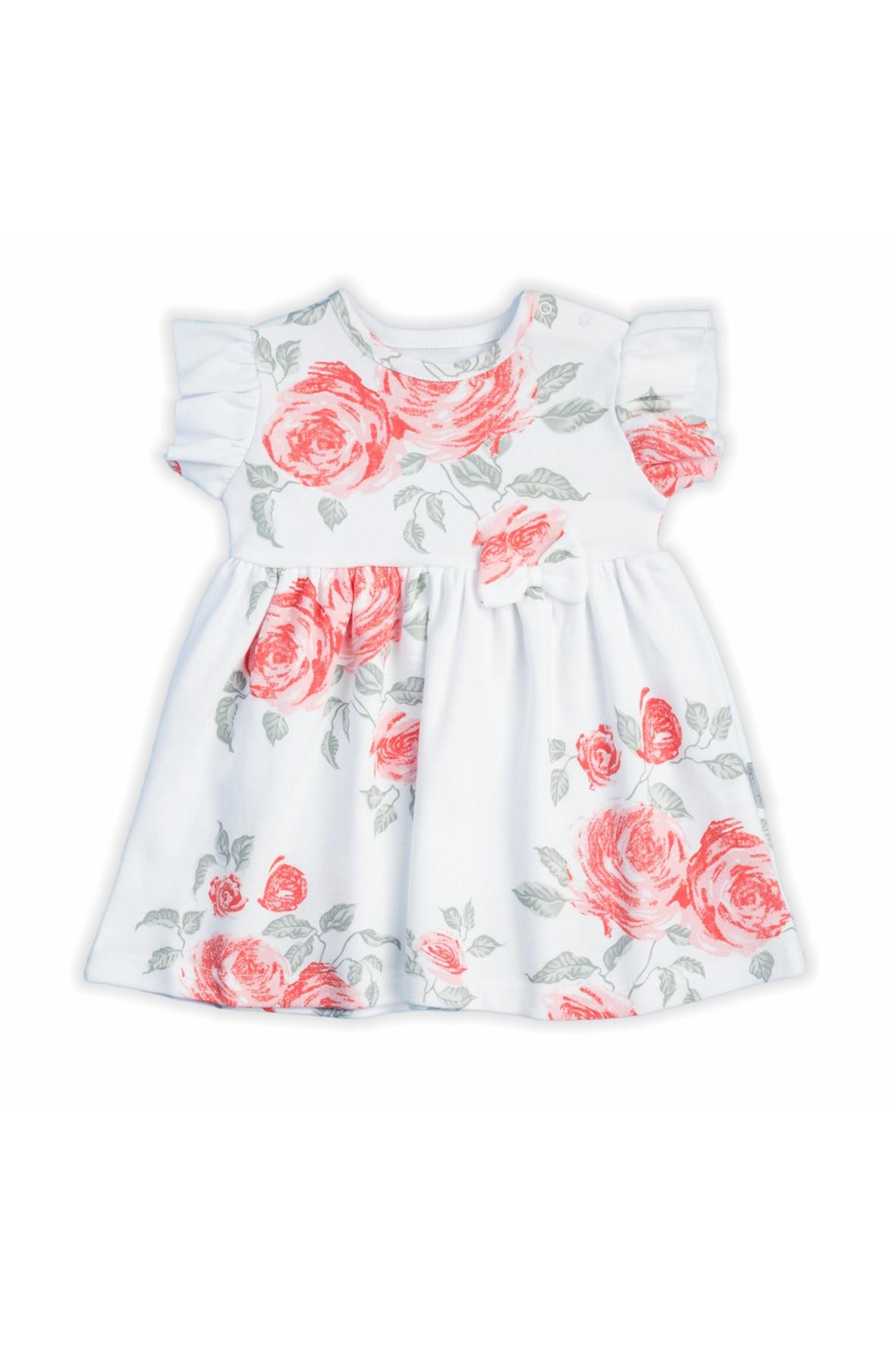 Bawełniana sukienka z kolekcji Róża krótki rękaw - biała