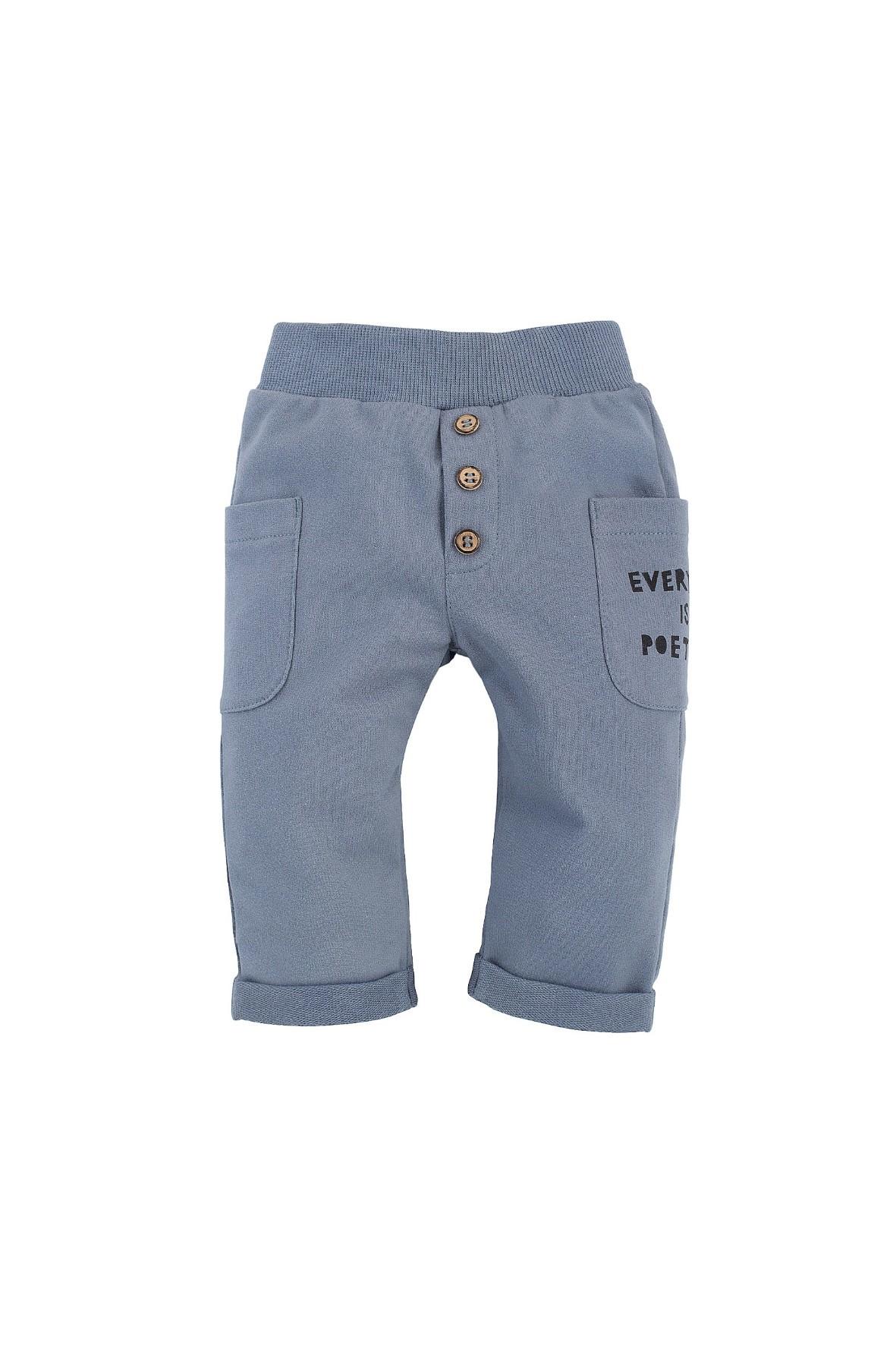 Bawełniane spodnie długie chłopięce z dwoma kieszonkami