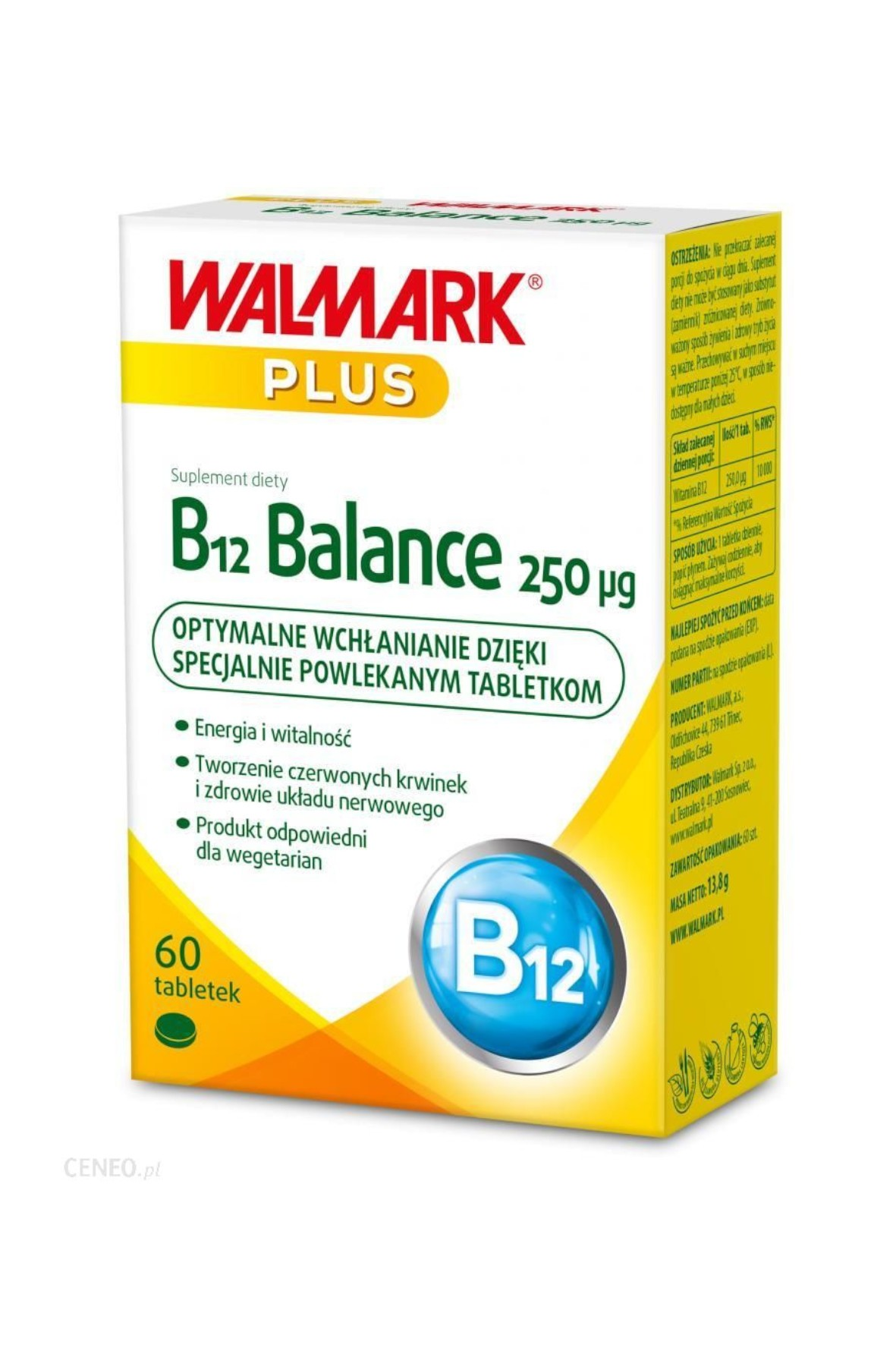 B 12 balance 250 µg suplementy diety - 60 tabletek