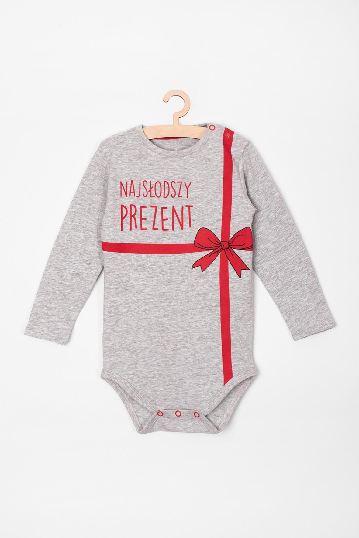 Body niemowlęce szare z napisem- Najsłodszy prezent