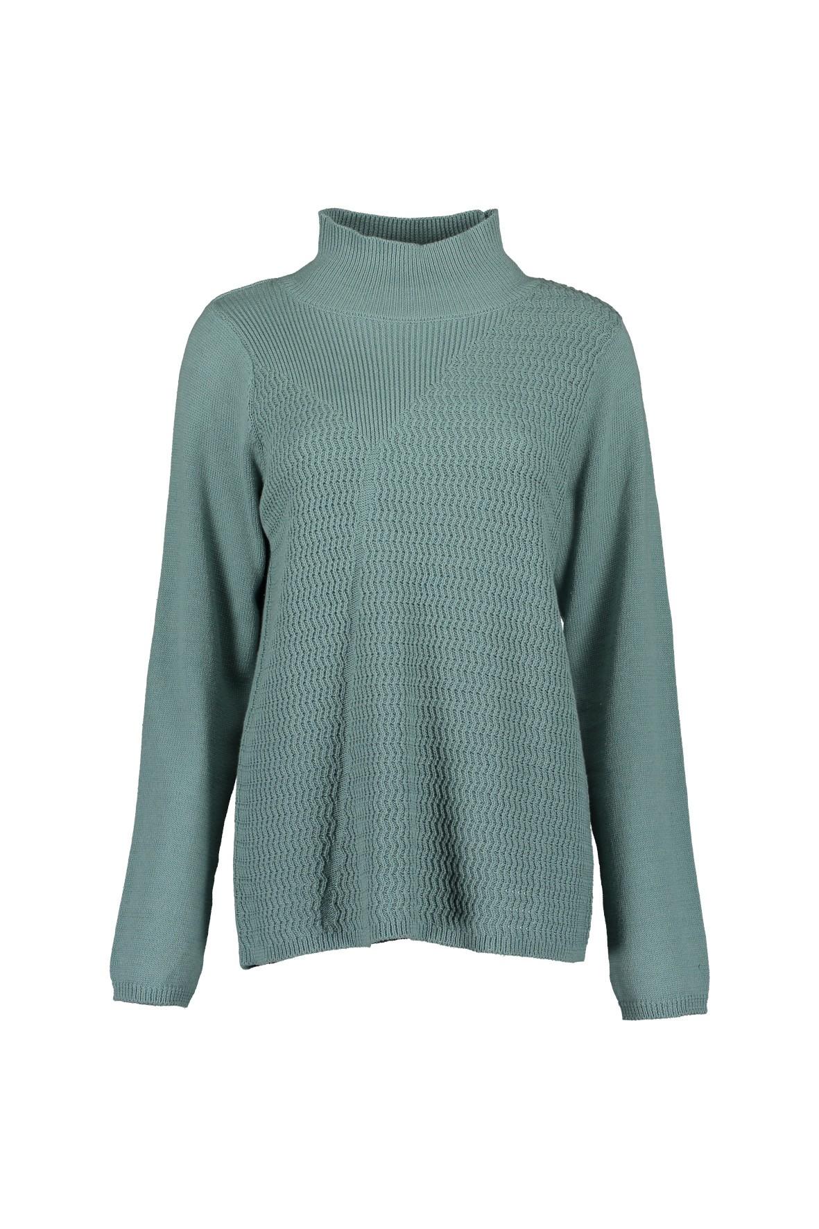 Damski sweter z dzianiny  - niebieski