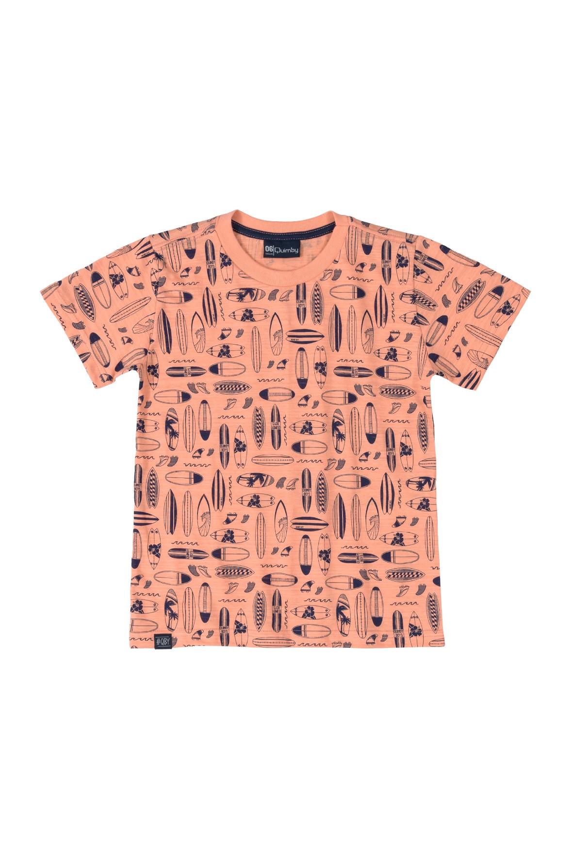 T-Shirt chłopięcy we wzorki - pomarańczowe