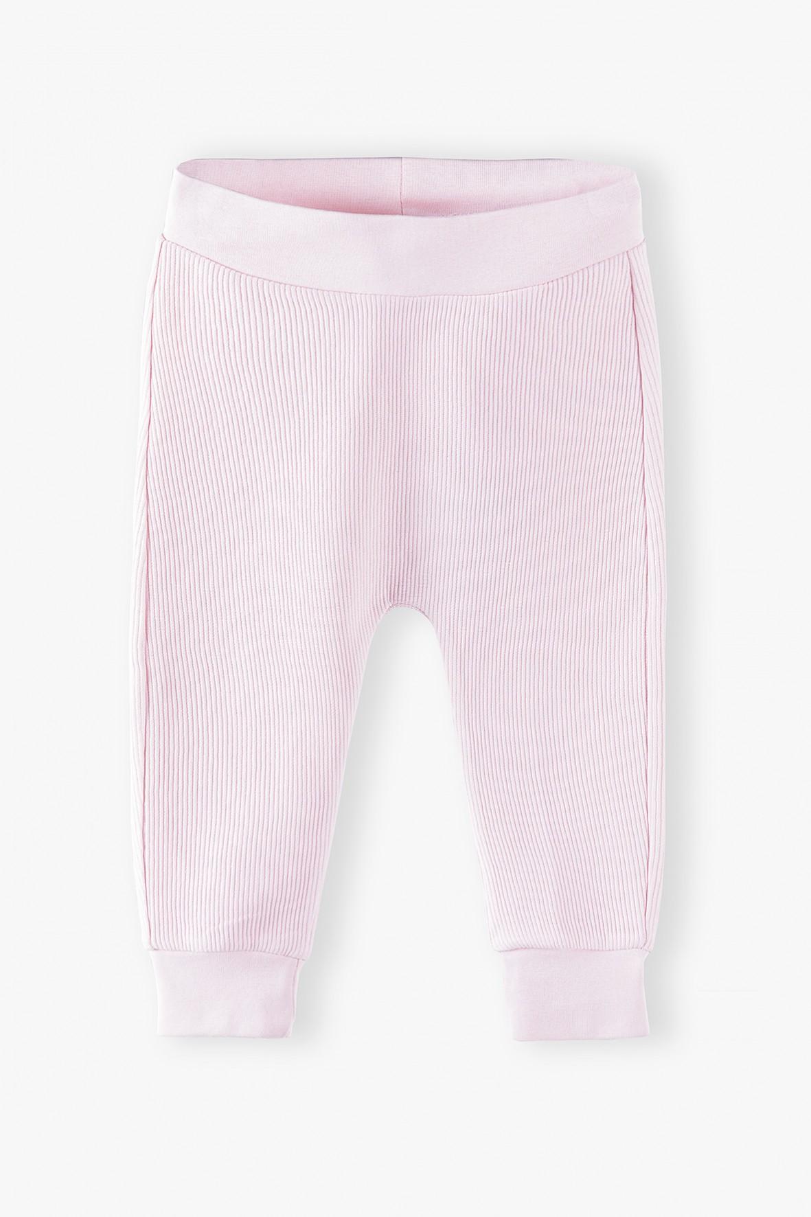 Spodnie dresowe niemowlęce w prążki - różowe