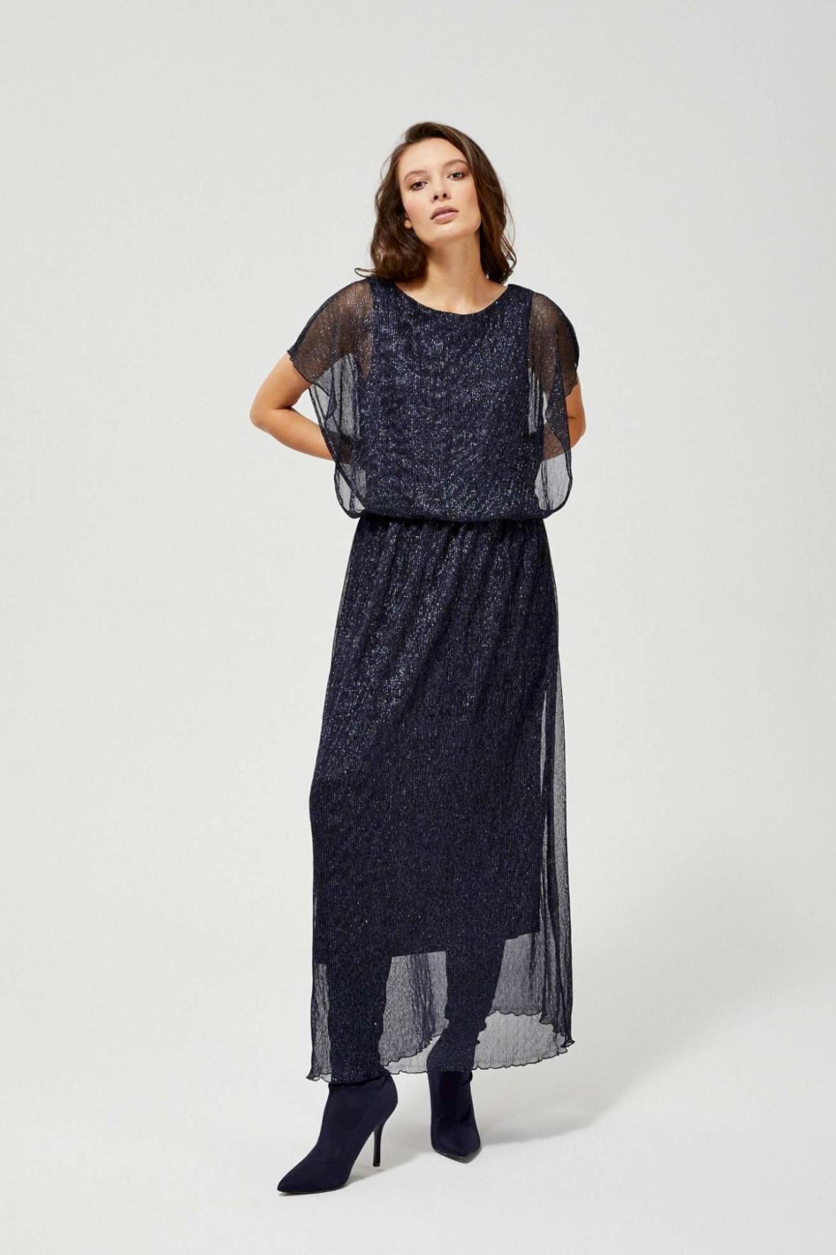 Długa zwiewna sukienka damska granatowa