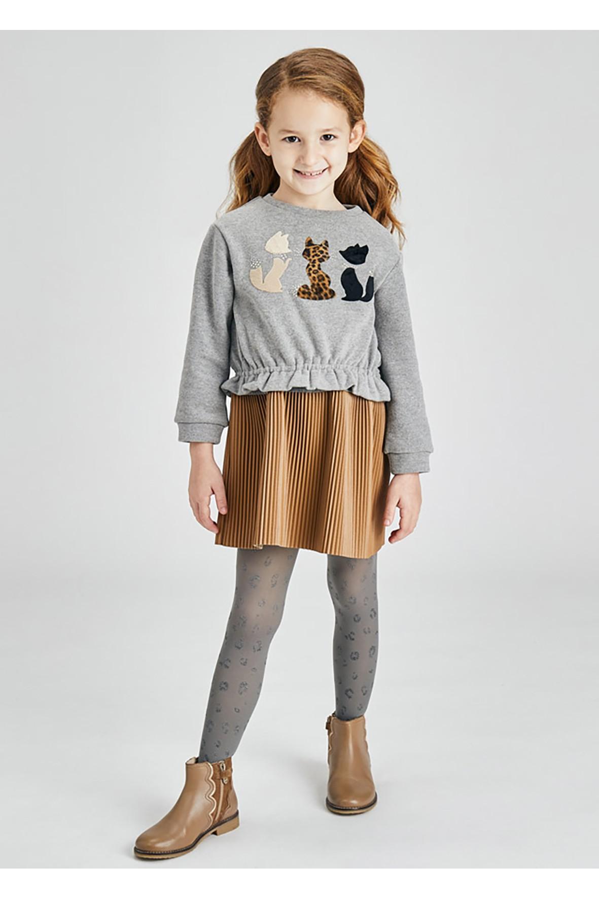 Komplet dziewczęcy - sukienka i bluza z nadrukiem