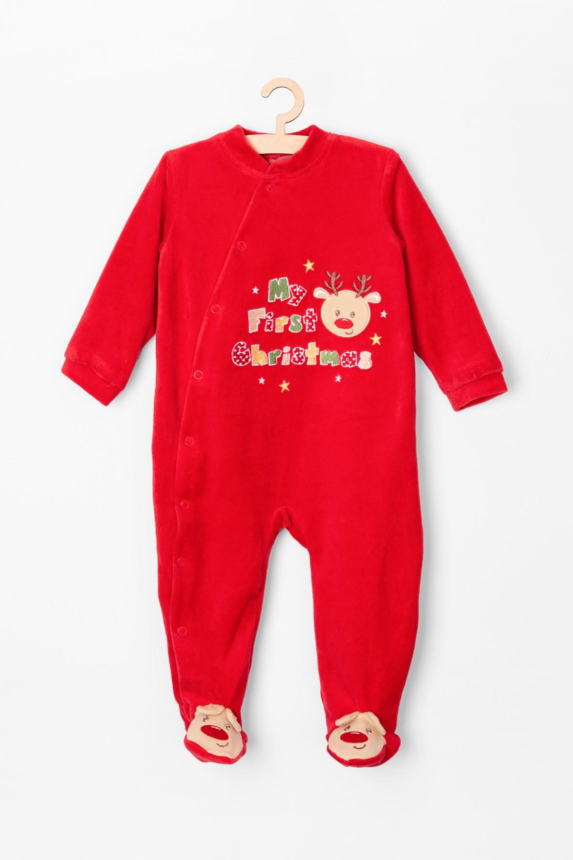Pajac welurowy dla niemowlaka- czerwony  z reniferem My First Christmas
