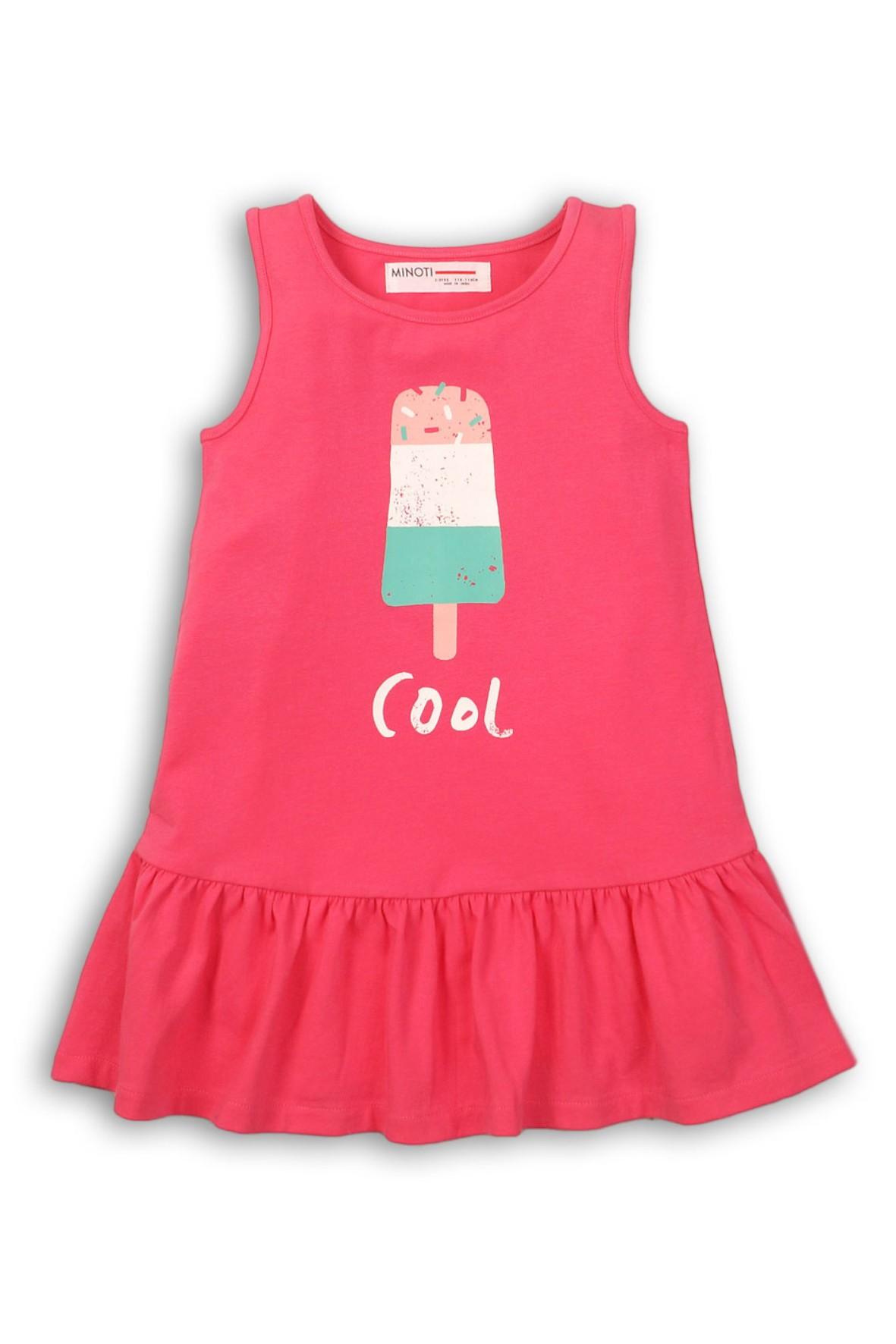 477a3f5ec2 Sukienka dziewczęca dzianinowa na lato-różowa z kolorowym nadrukiem ...