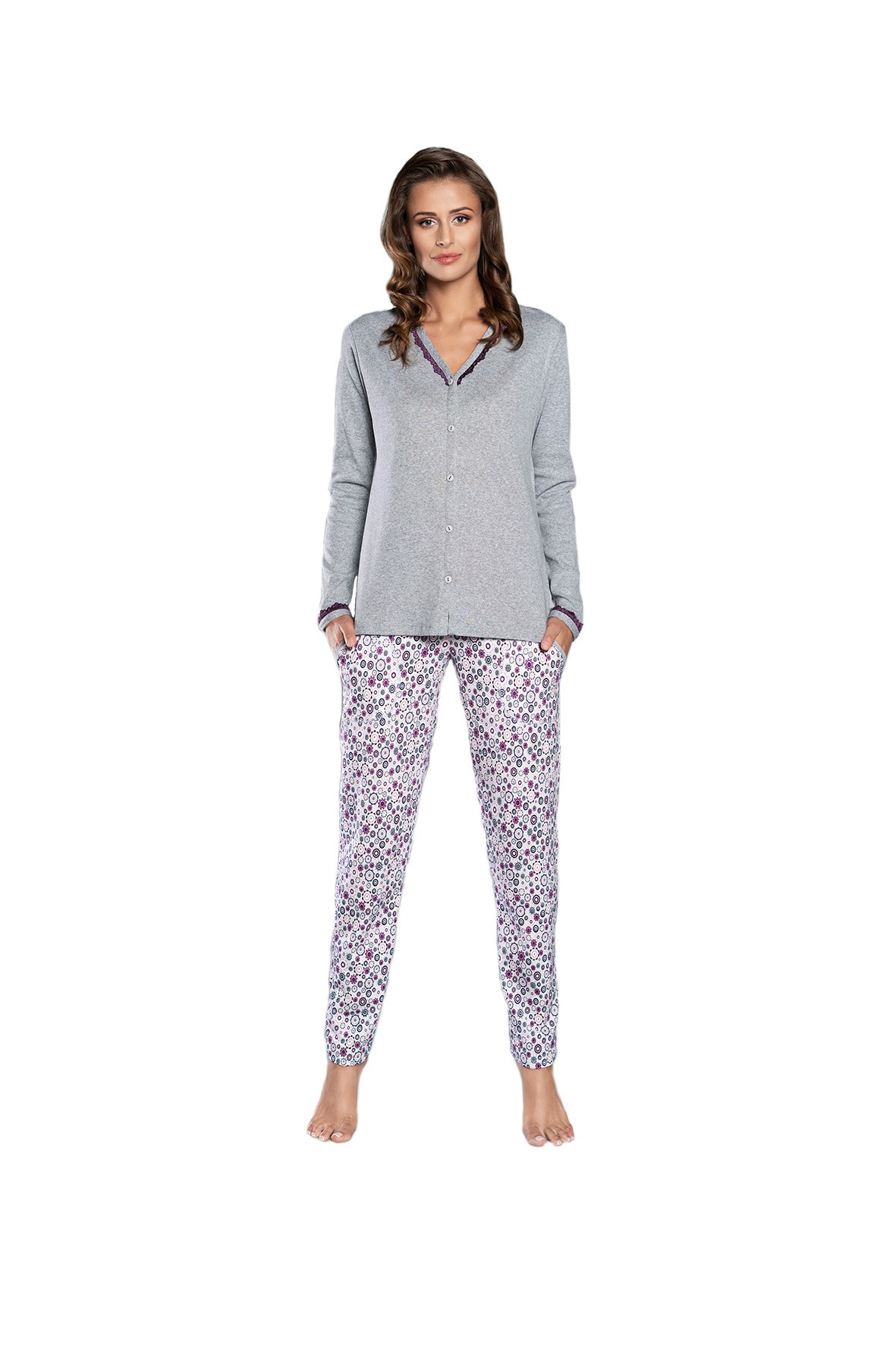 Piżama damska we wzorki - szara