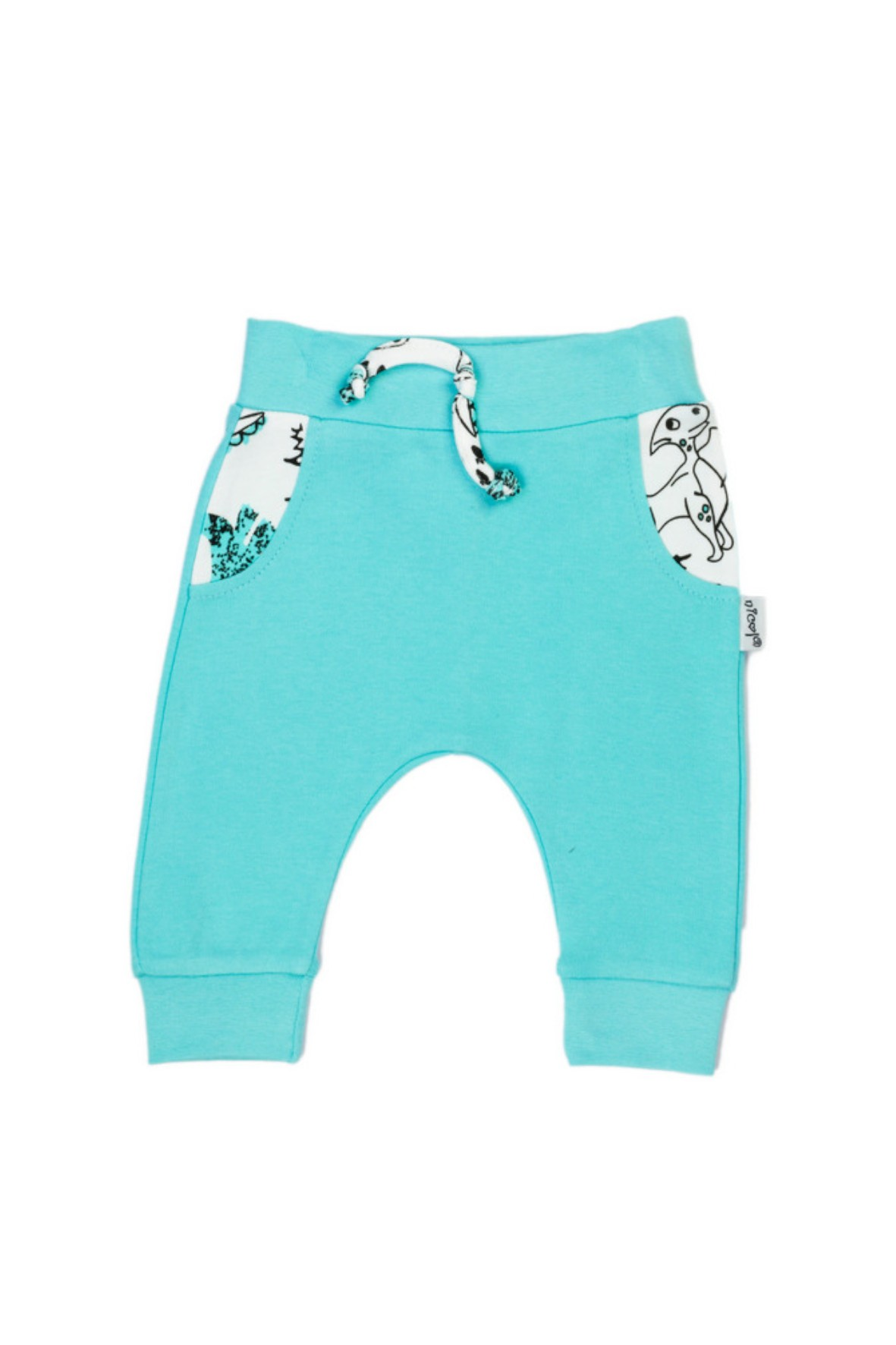 Niebieskie spodnie chłopięce z dinozaurami- dresy