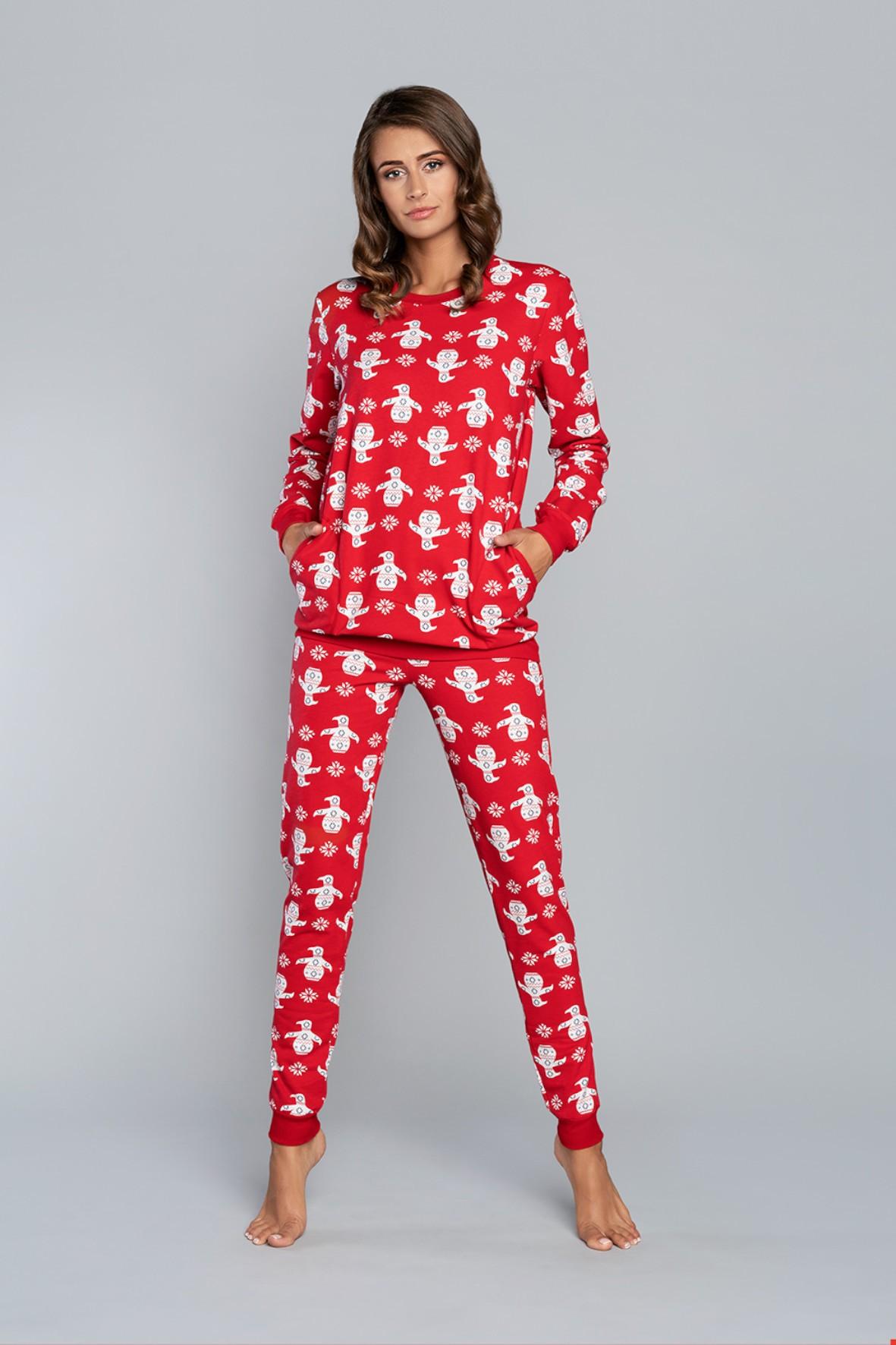 Piżama damska w pingwiny - długi rękaw i długie spodnie - czerwona
