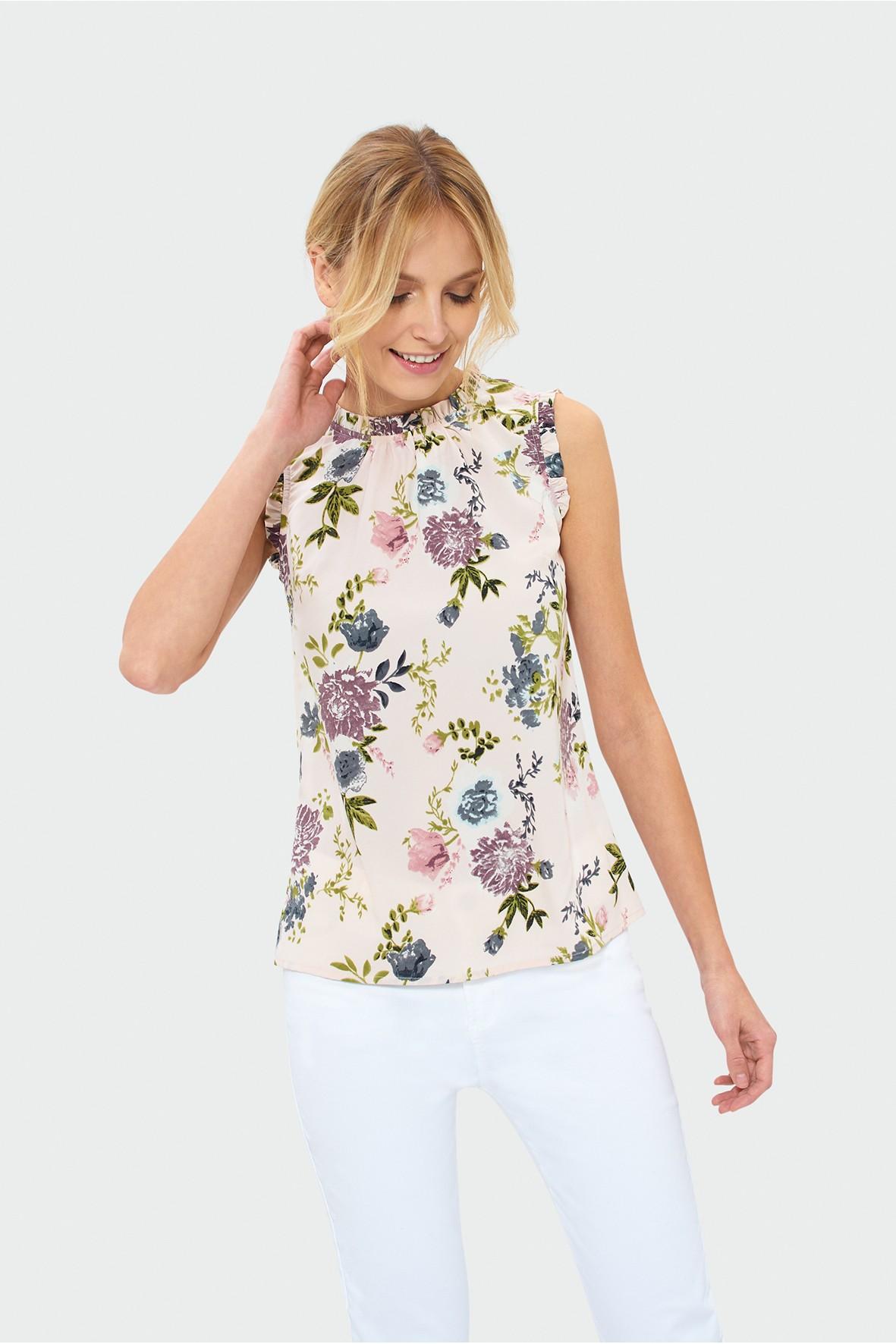 Bluzka damska ecru w kwiaty