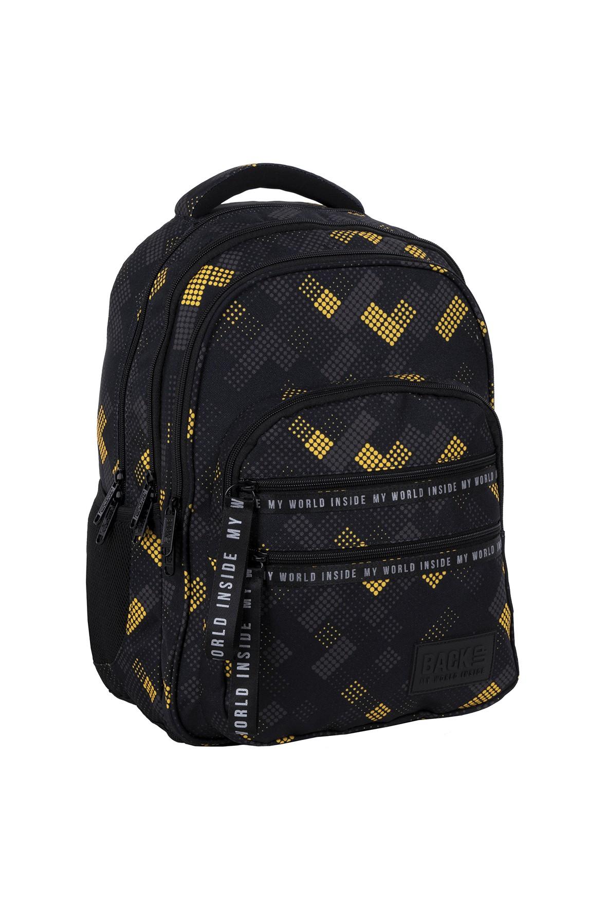 Plecak BackUp chłopięcy z kolorowym wzorem
