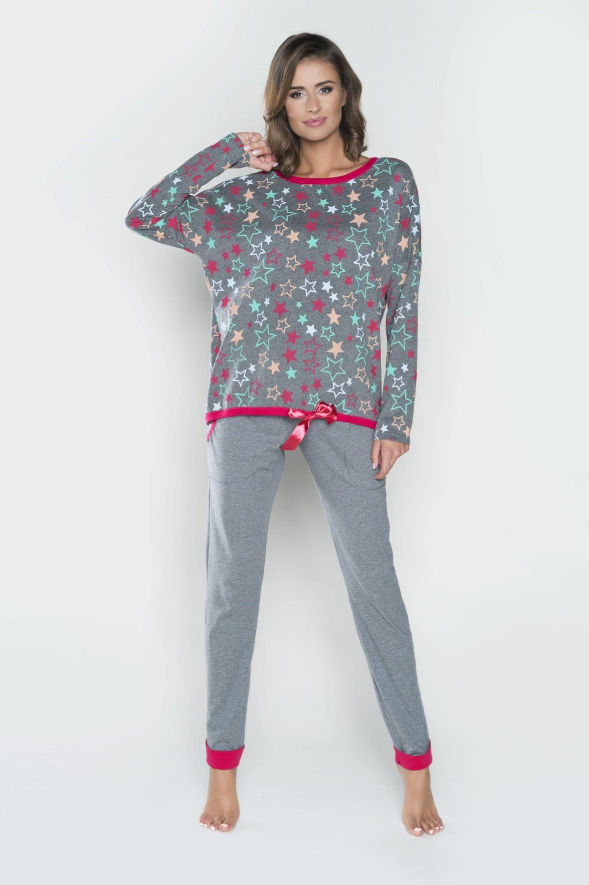 Piżama damska długi rękaw, długie spodnie - szara w gwiazdki