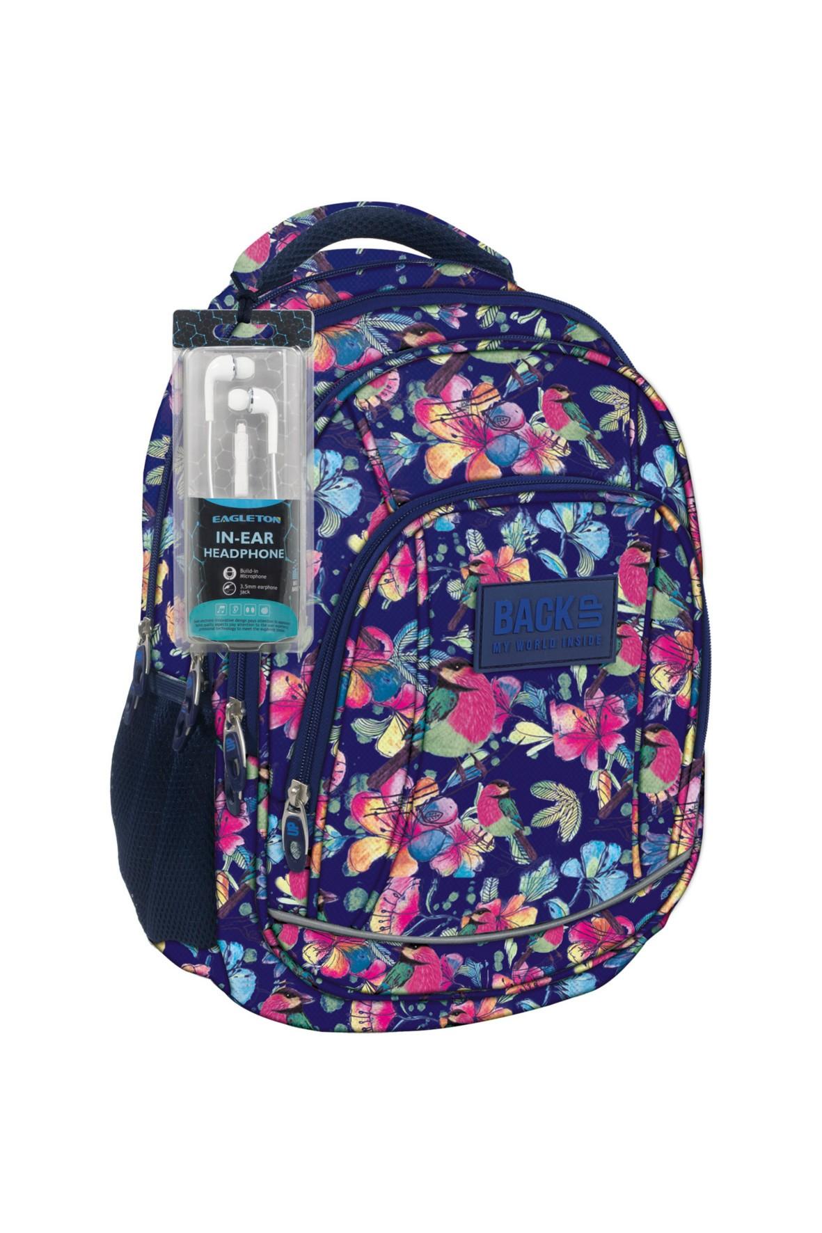 Plecak dziewczęcy granatowy w kwiaty- słuchawki Gratis